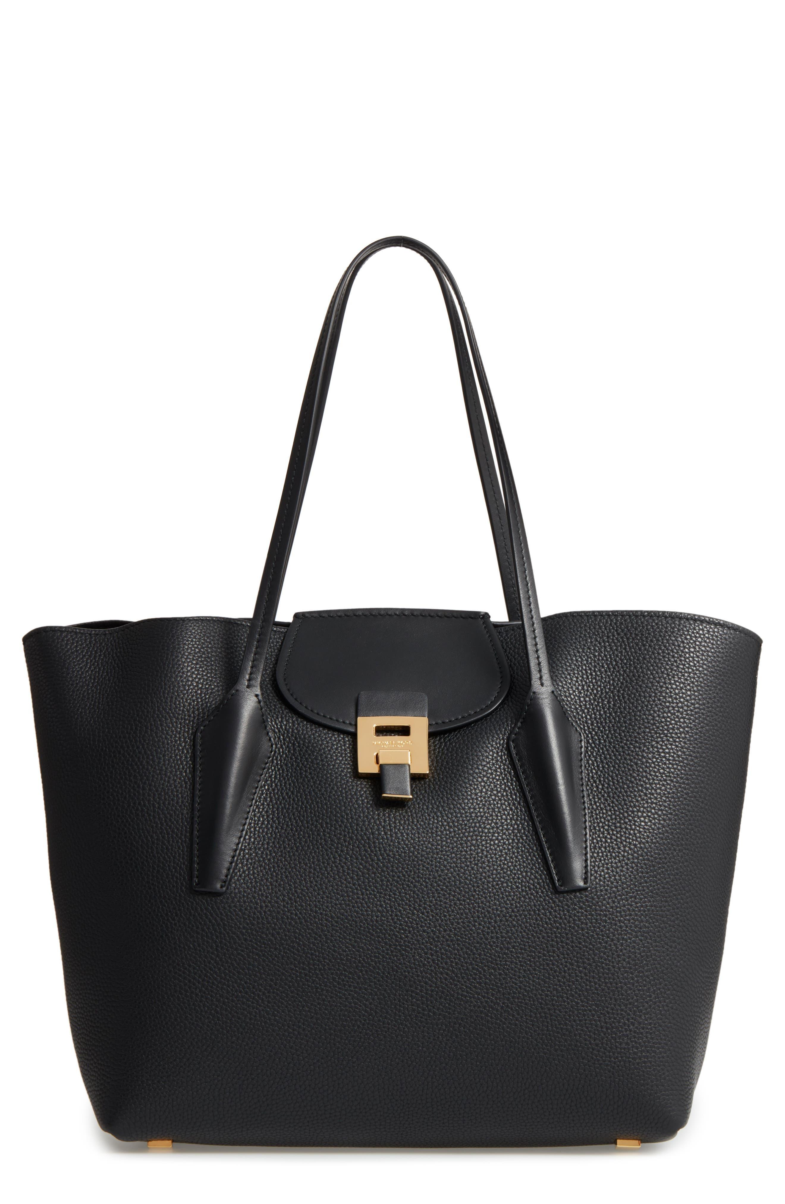 Large Bancroft Leather Tote,                         Main,                         color, Black