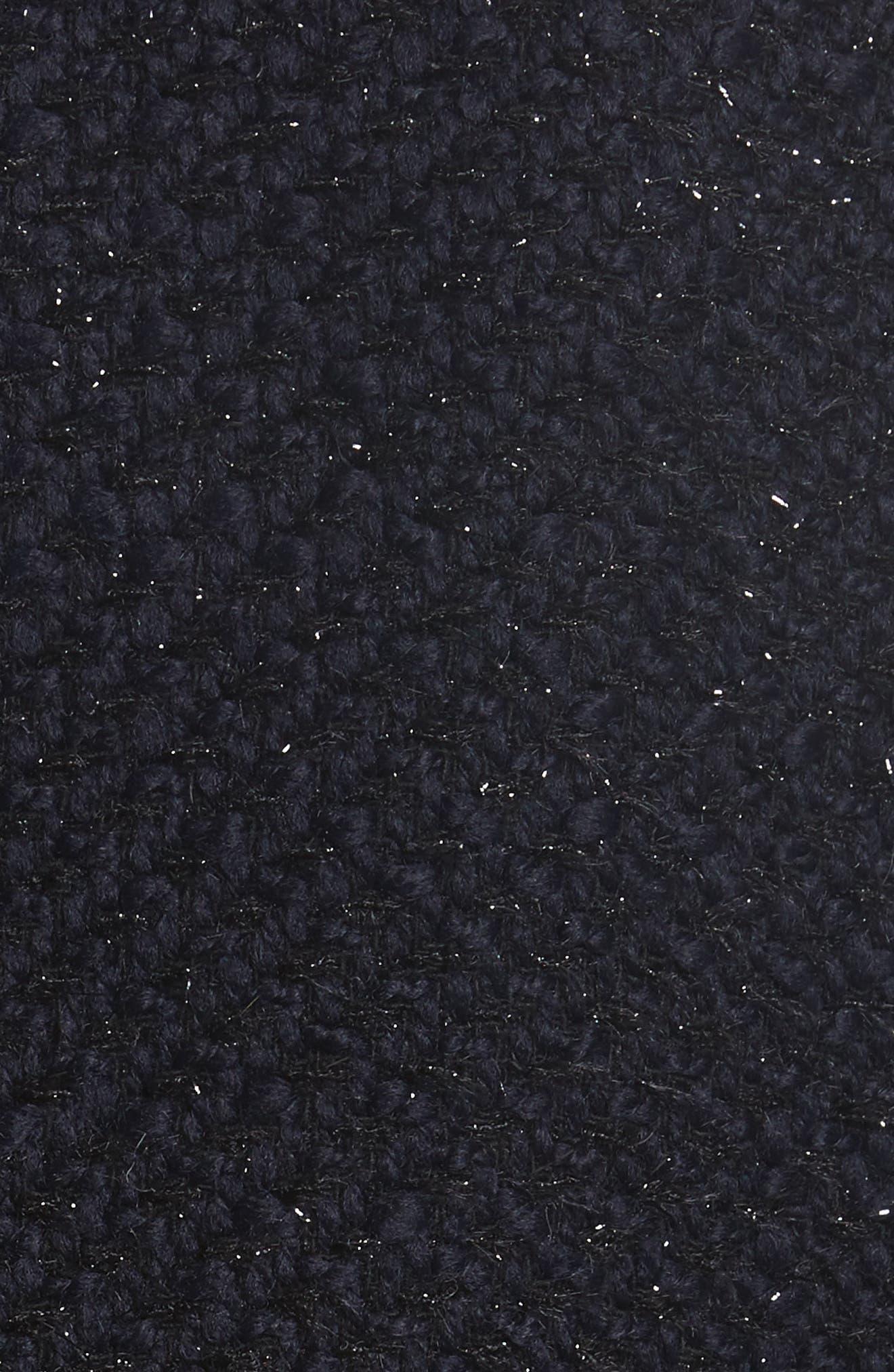 Glitter Tweed Jacket,                             Alternate thumbnail 5, color,                             Navy