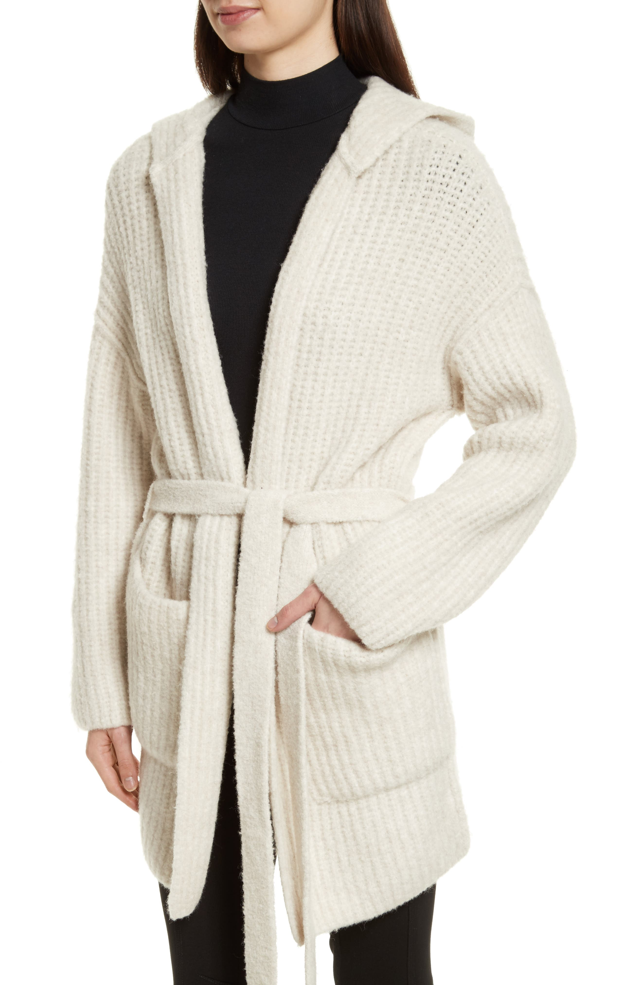 Hooded Sweater Coat,                             Alternate thumbnail 5, color,                             Dusty Ivory