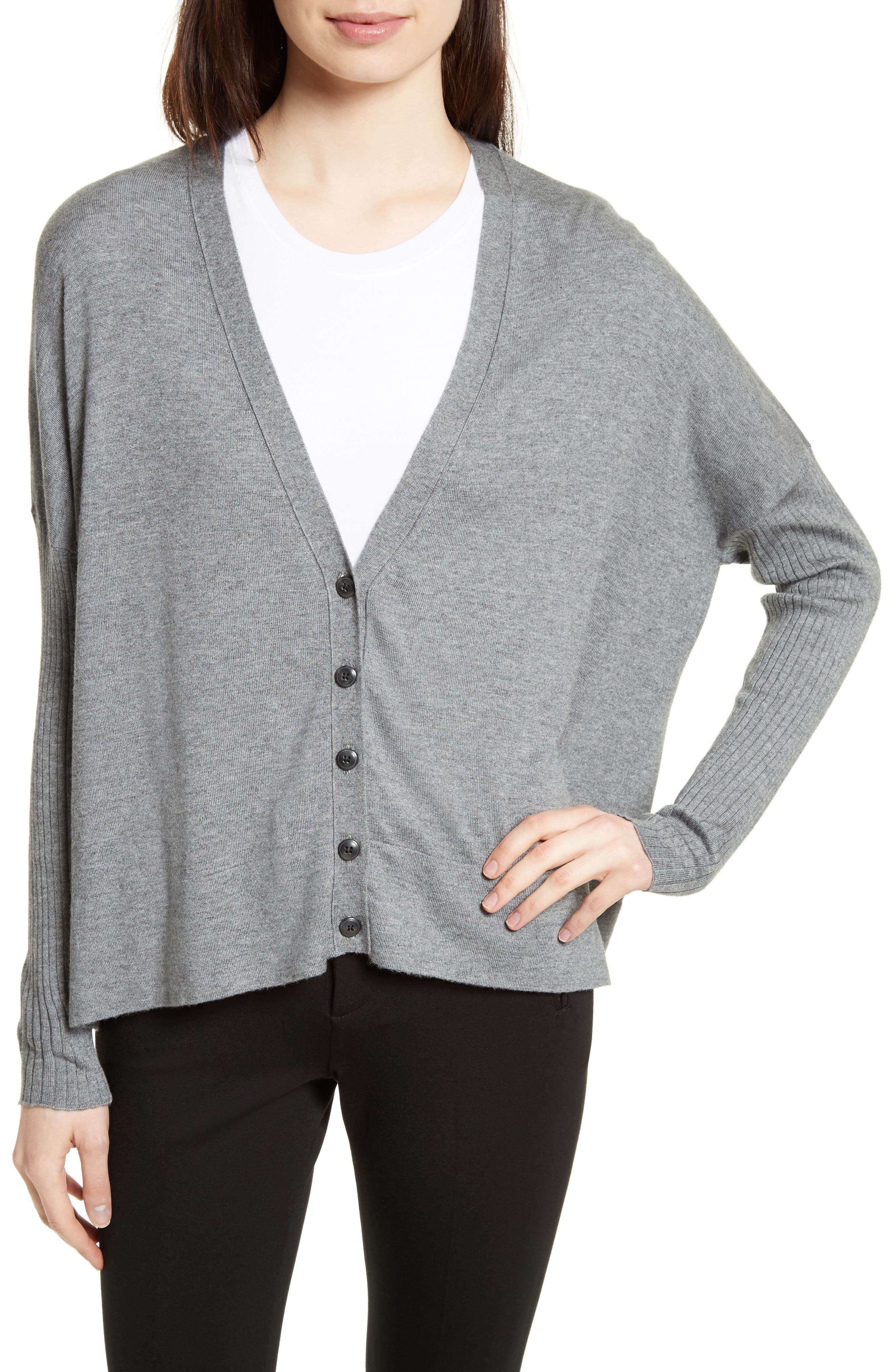 Modal Blend V-Neck Cardigan,                             Main thumbnail 1, color,                             Cement