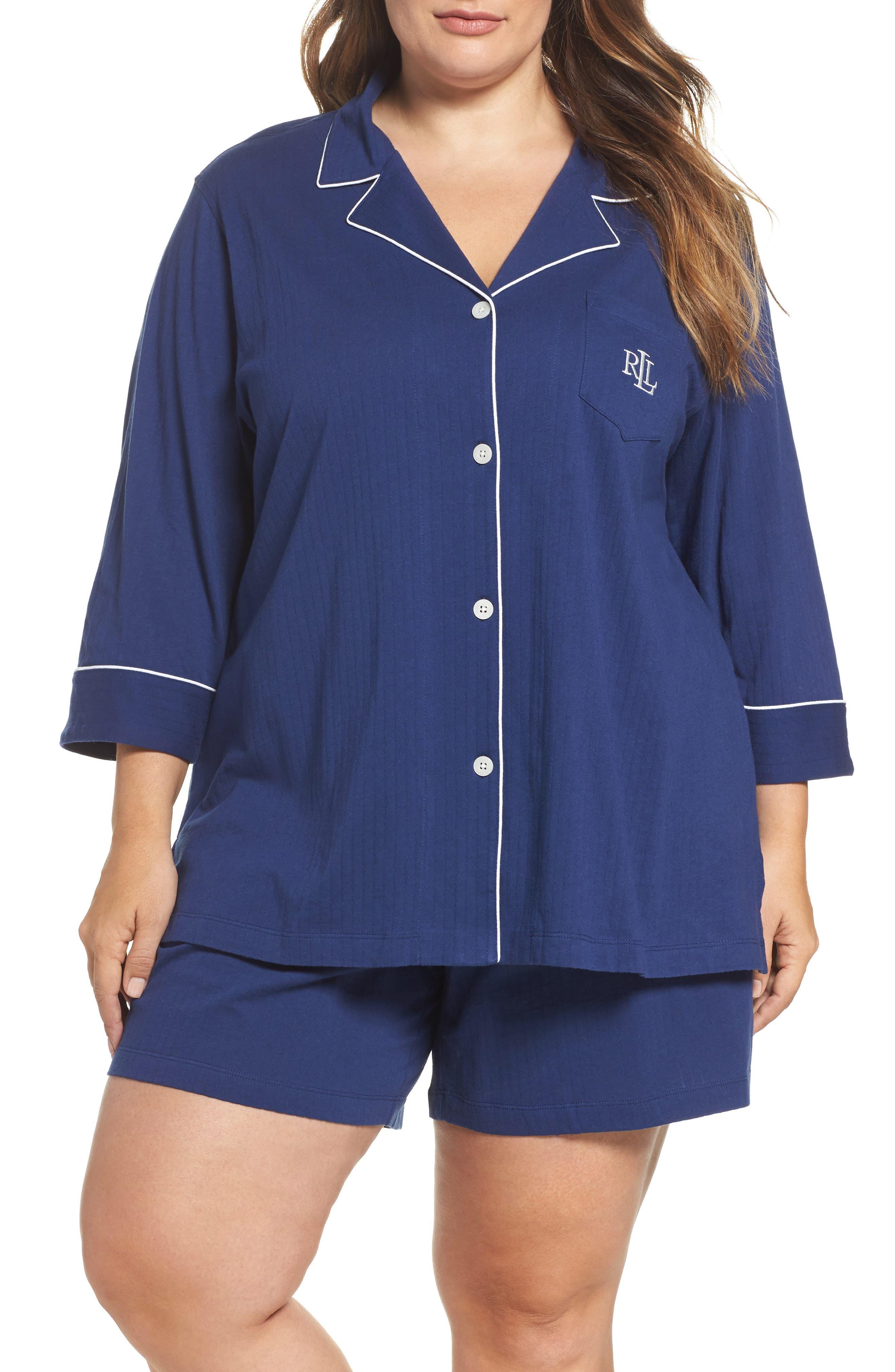 Notched Collar Pajamas,                         Main,                         color, Navy