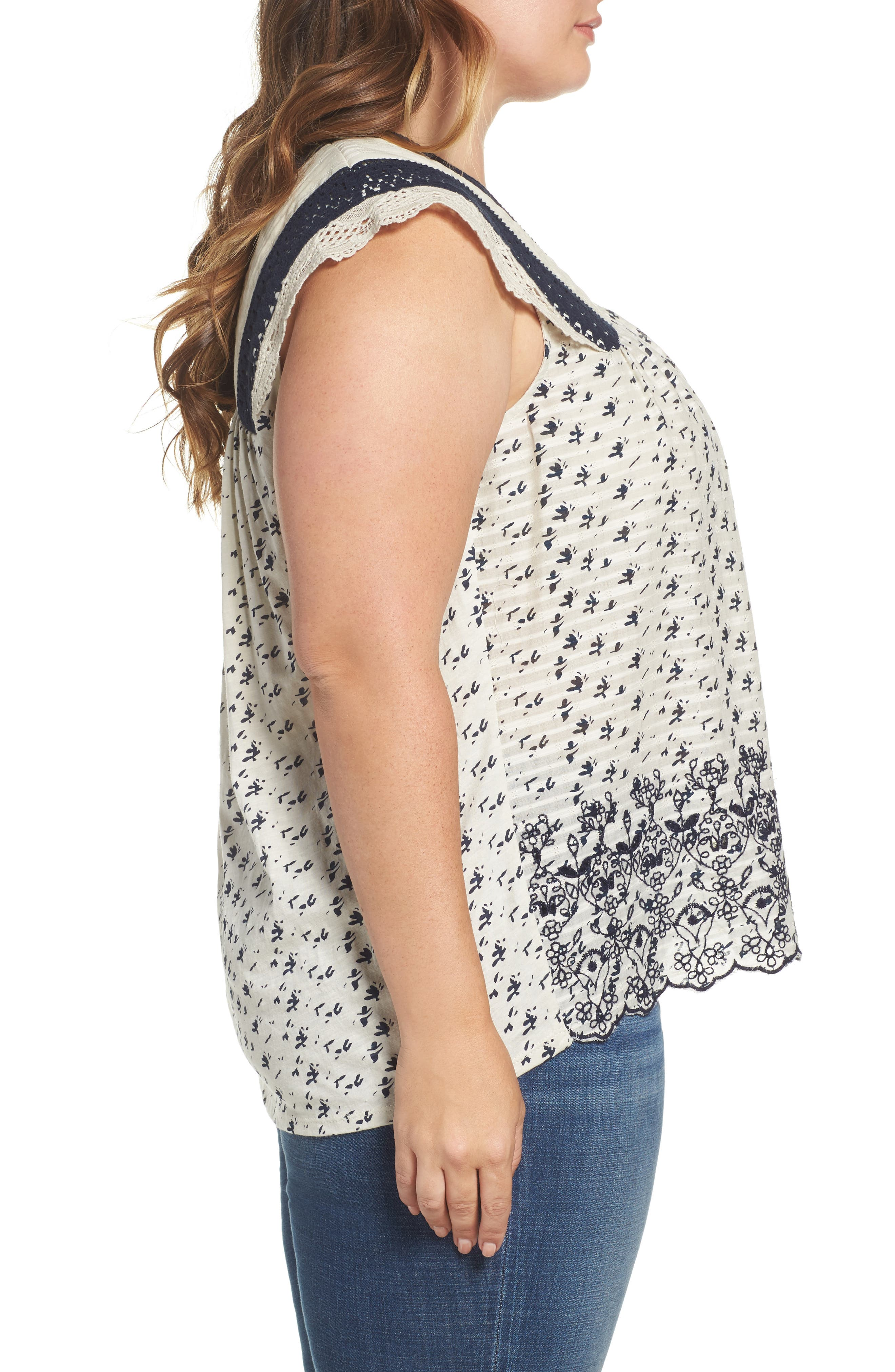 Alternate Image 2  - Lucky Brand Embroidered Print Flutter Top (Plus Size)