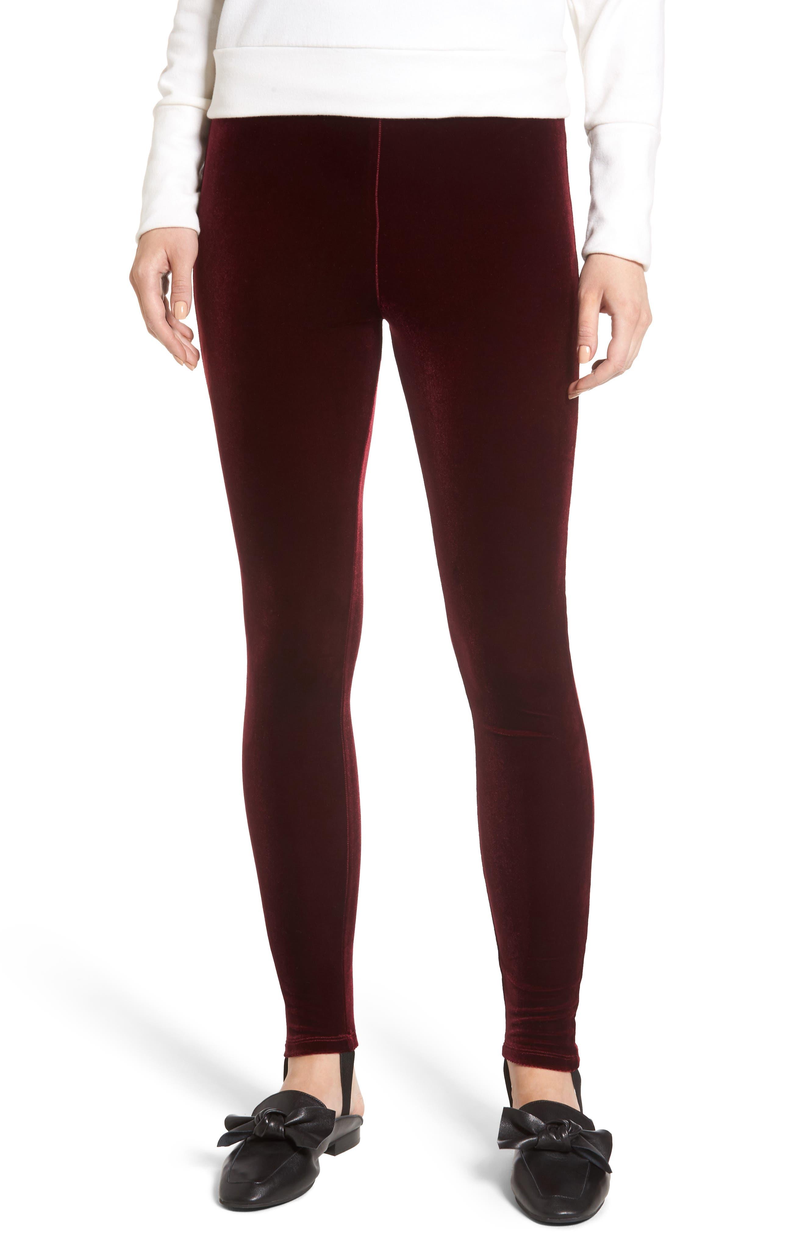 High Waist Velour Stirrup Pants,                         Main,                         color, Red Tannin
