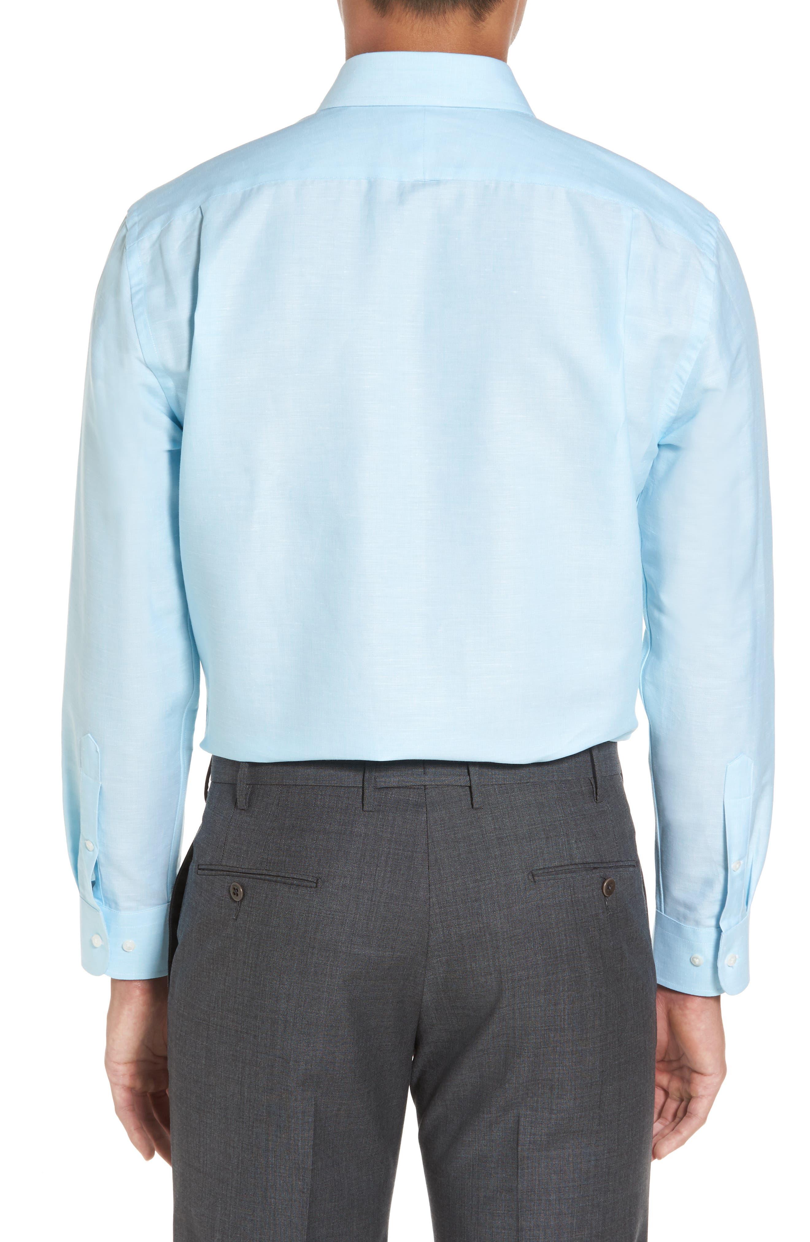 Alternate Image 3  - Nordstrom Men's Shop Trim Fit Solid Linen & Cotton Dress Shirt