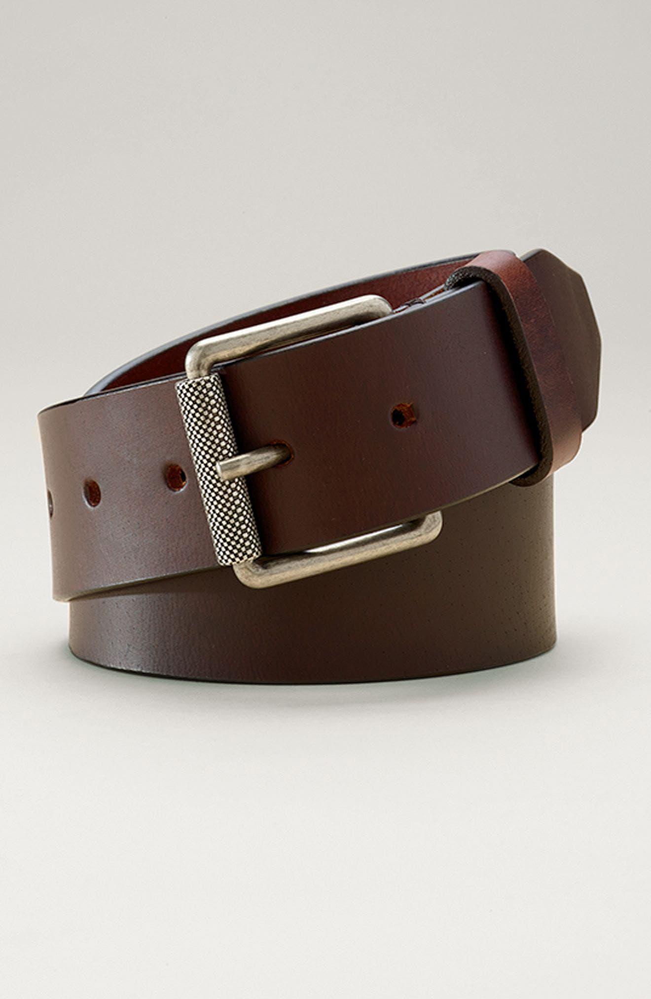 Roller Buckle Leather Belt,                             Alternate thumbnail 3, color,