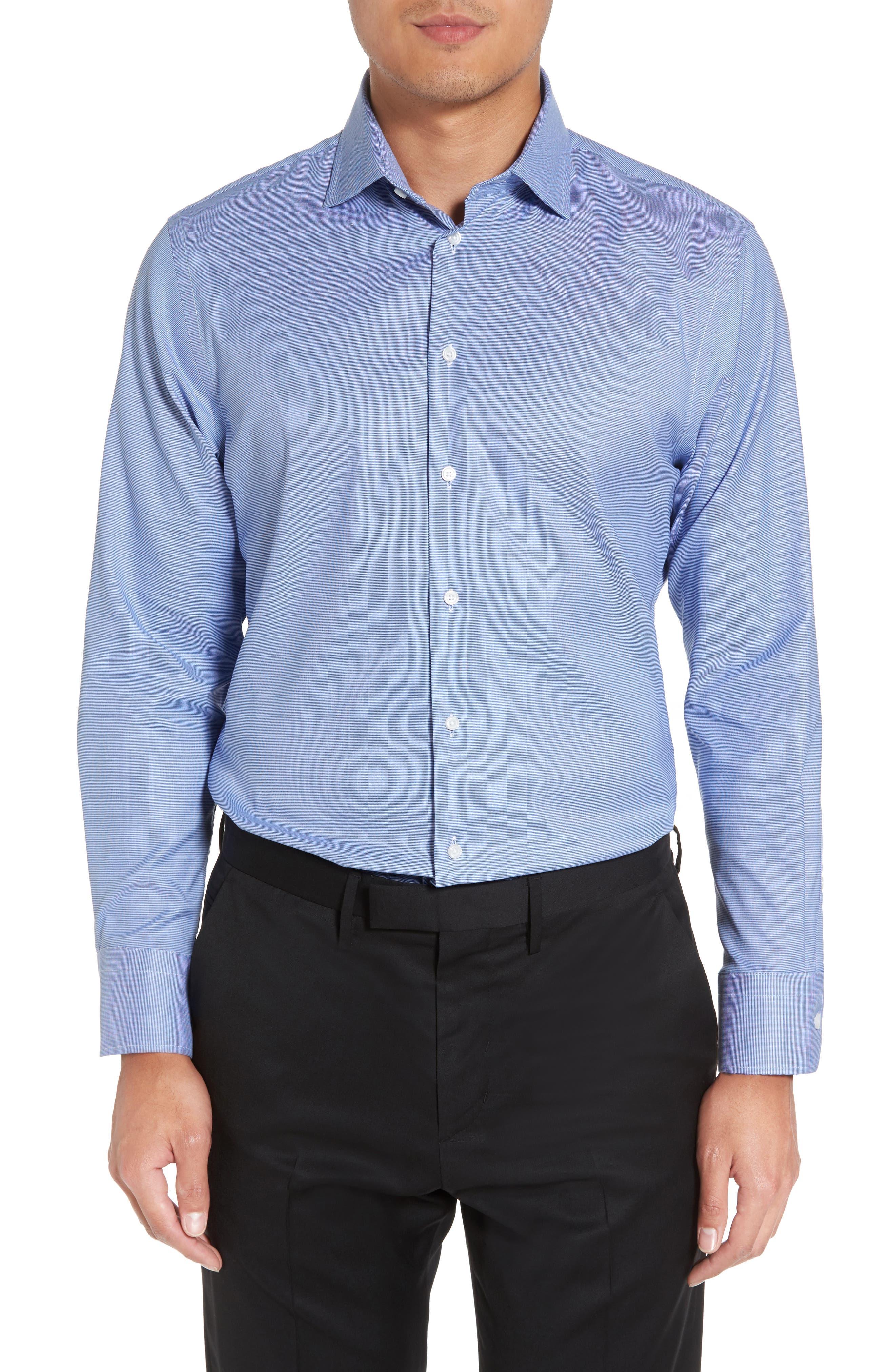 Trim Fit Non-Iron Dress Shirt,                         Main,                         color, Blue Sodalite