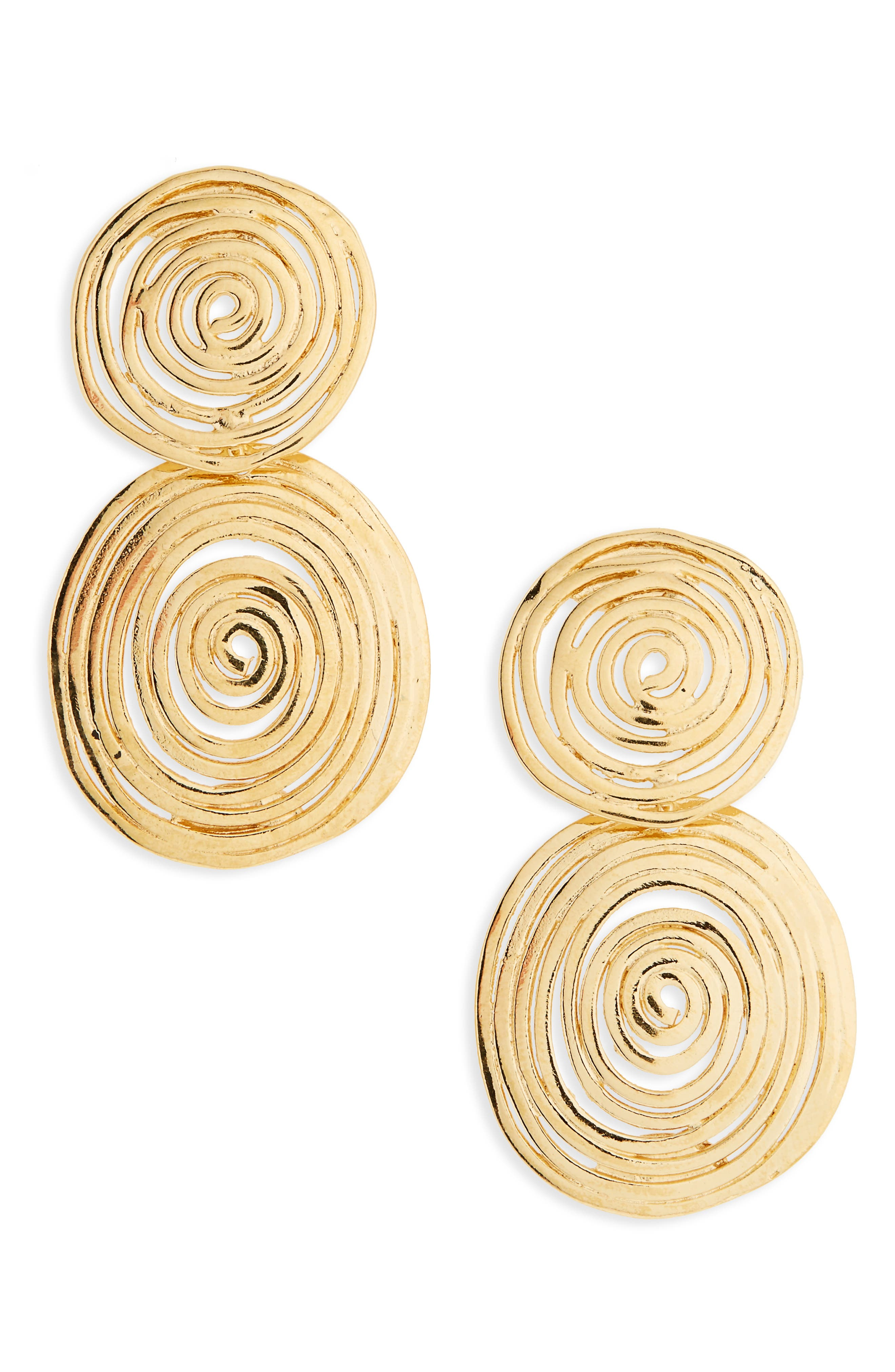 Wave Small Drop Earrings,                         Main,                         color, Gold