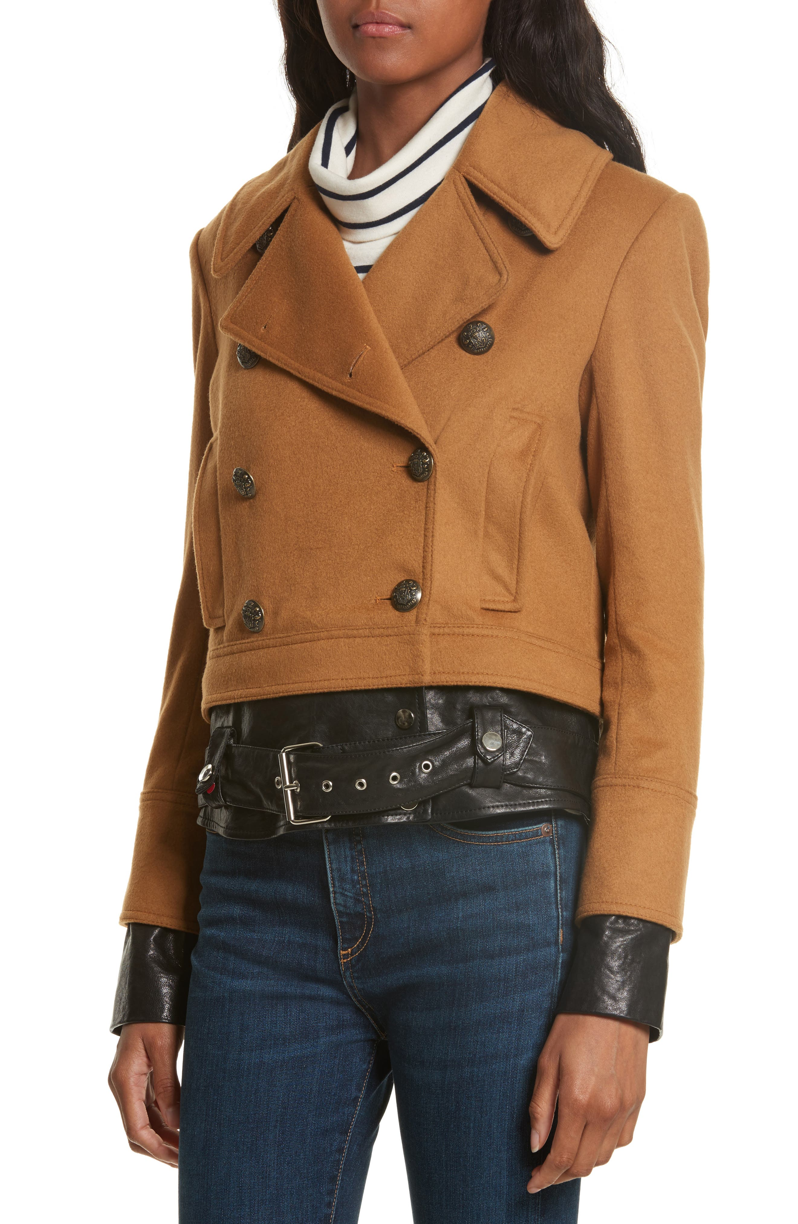 Yara Leather Hem Peacoat,                             Alternate thumbnail 5, color,                             Camel