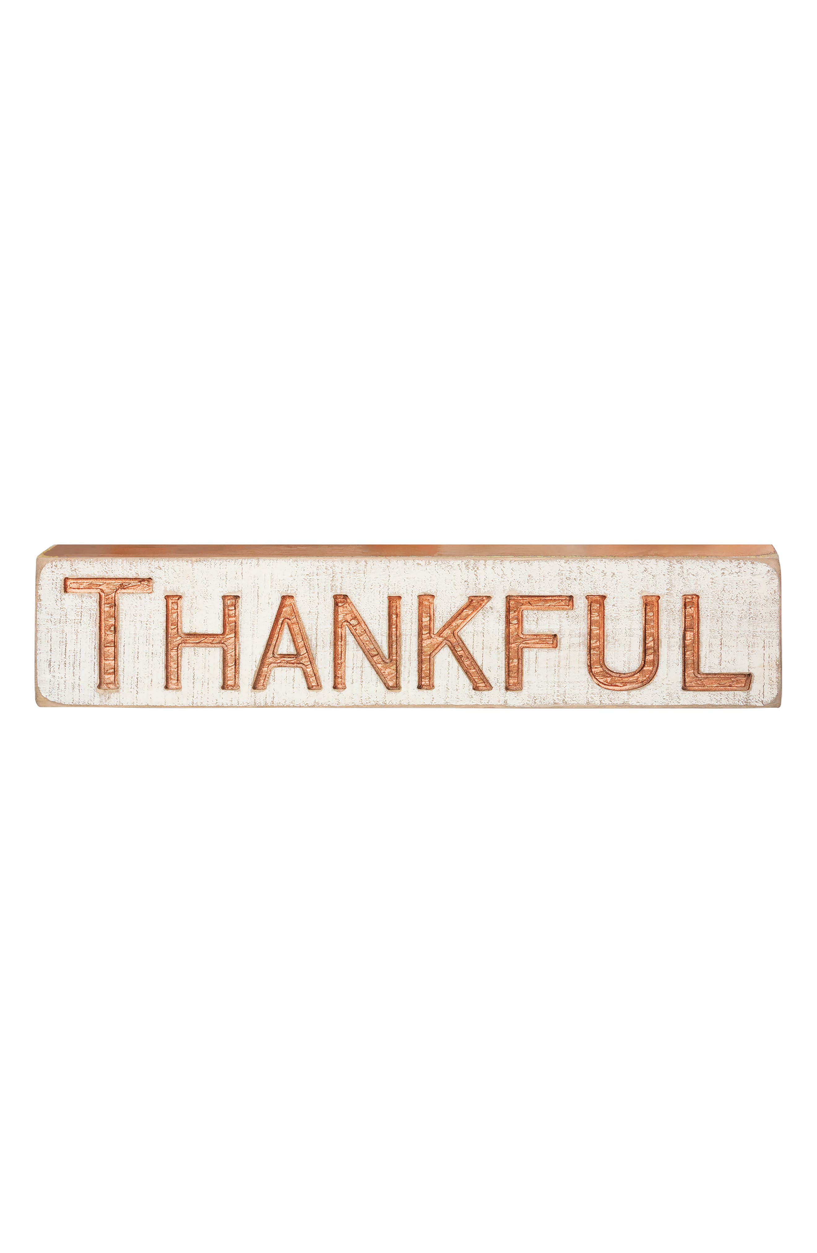 Thankful Carved Wood Sign,                             Main thumbnail 1, color,                             Copper