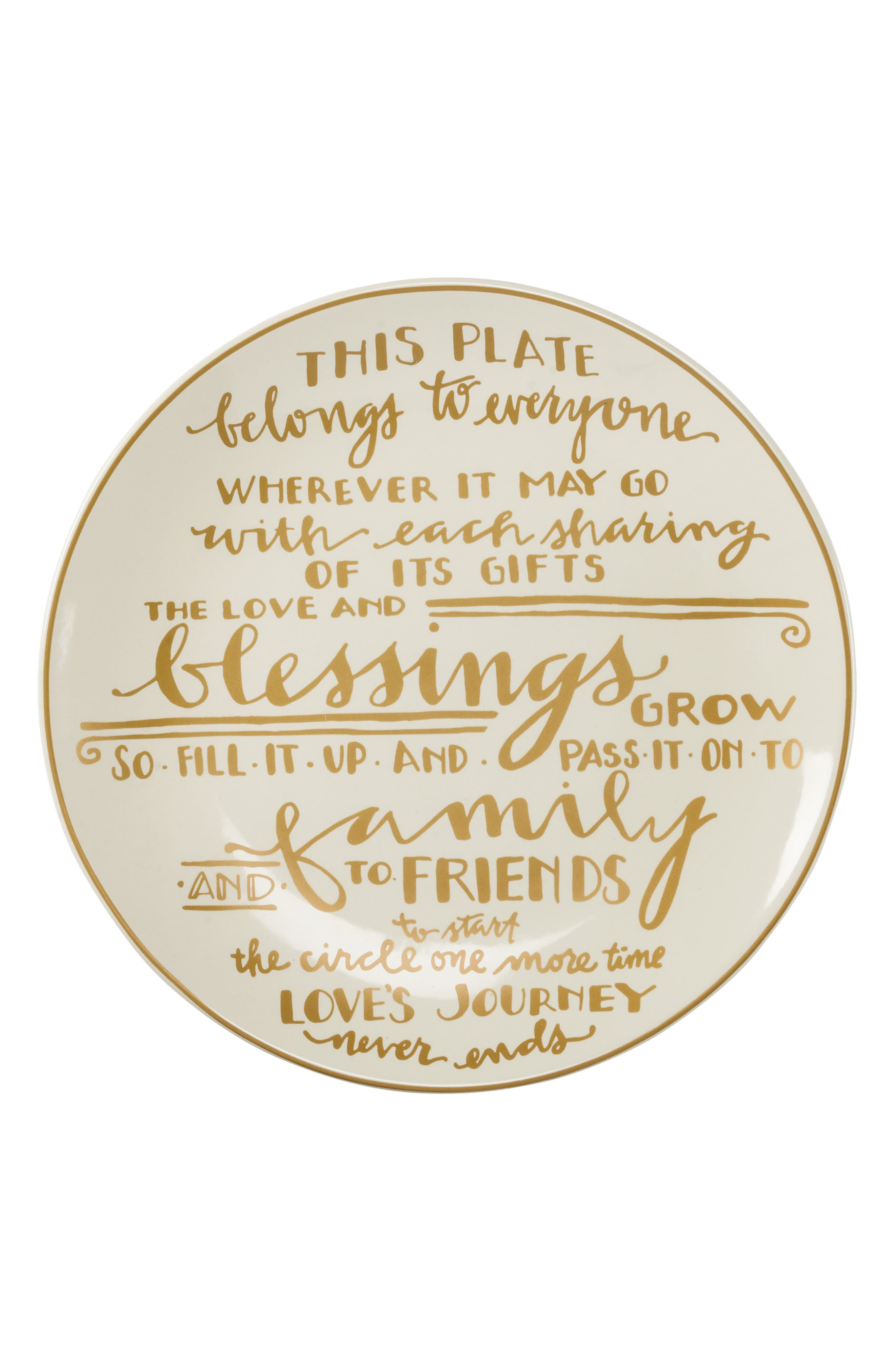 Thanksgiving Stoneware Plate,                         Main,                         color, Ivory