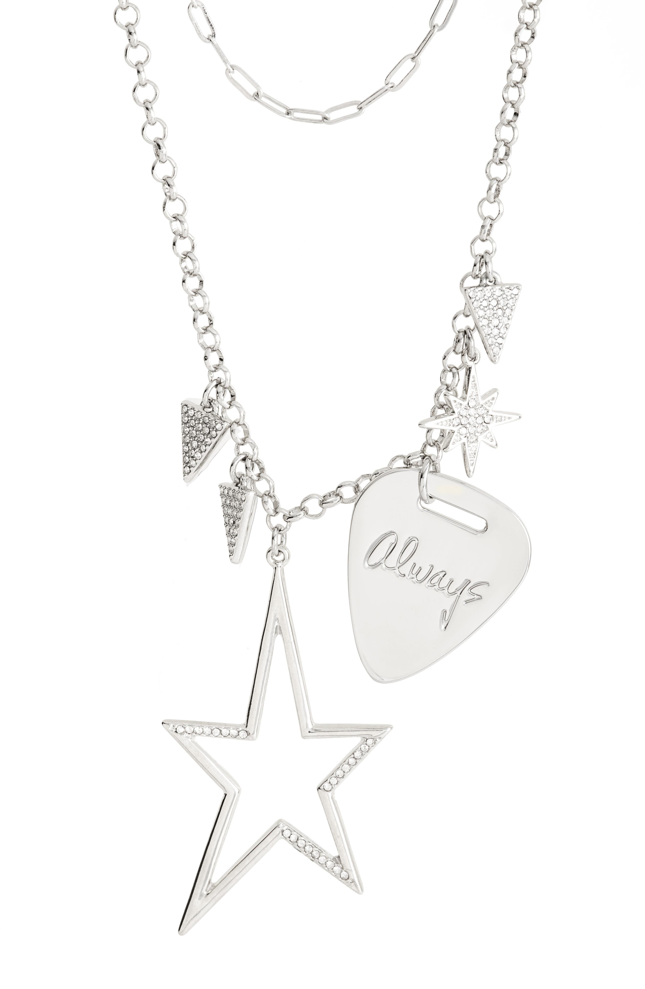 Guitar Pick Charm Necklace,                             Alternate thumbnail 2, color,                             Silver