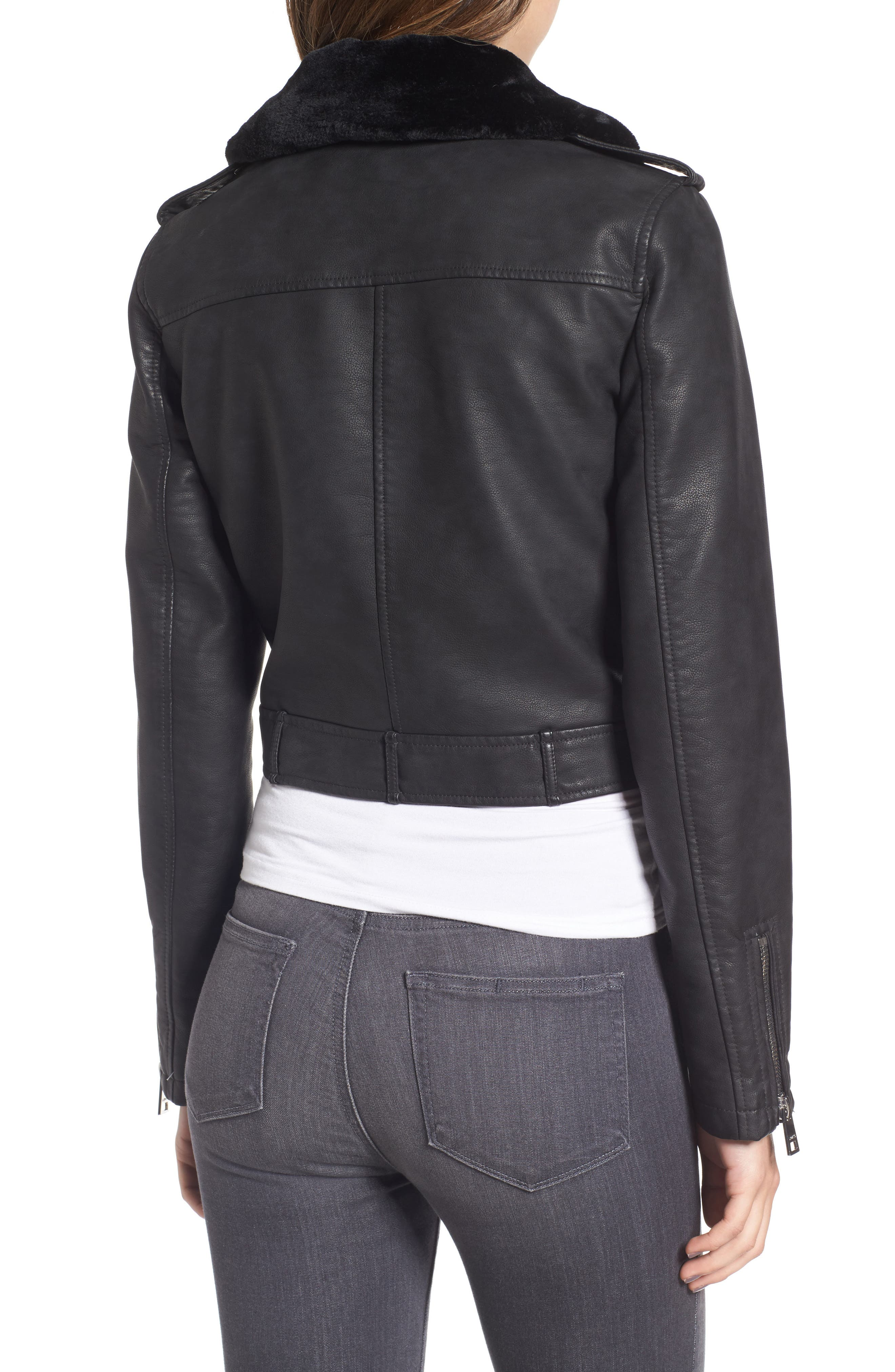 Levis<sup>®</sup> Sherpa Faux Leather Moto Jacket with Faux Fur Collar,                             Alternate thumbnail 2, color,                             Black