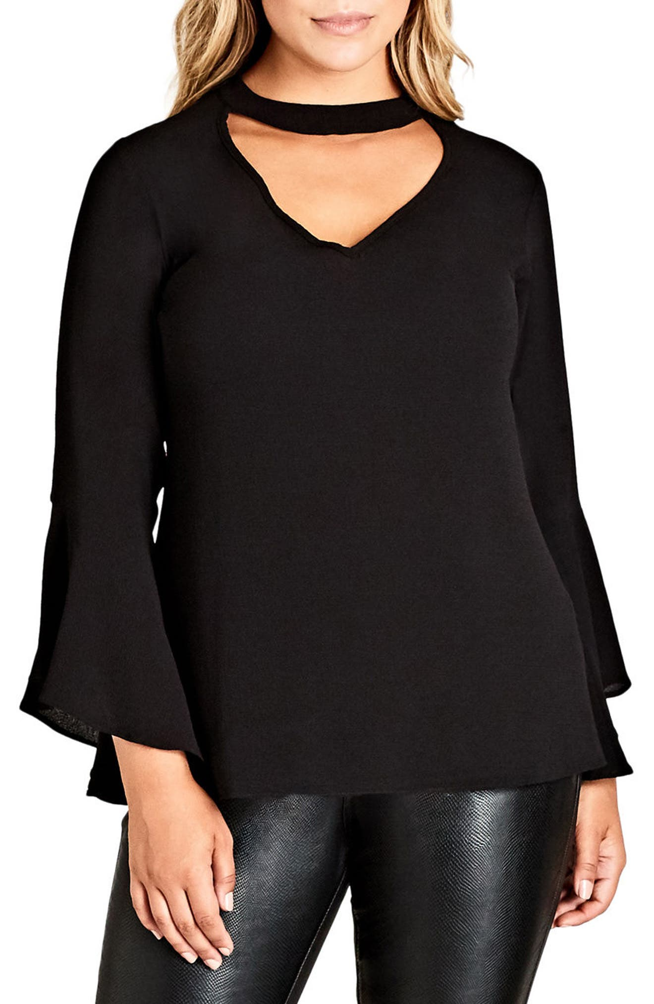 Alternate Image 1 Selected - City Chic Shadow Choker Shirt (Plus Size)