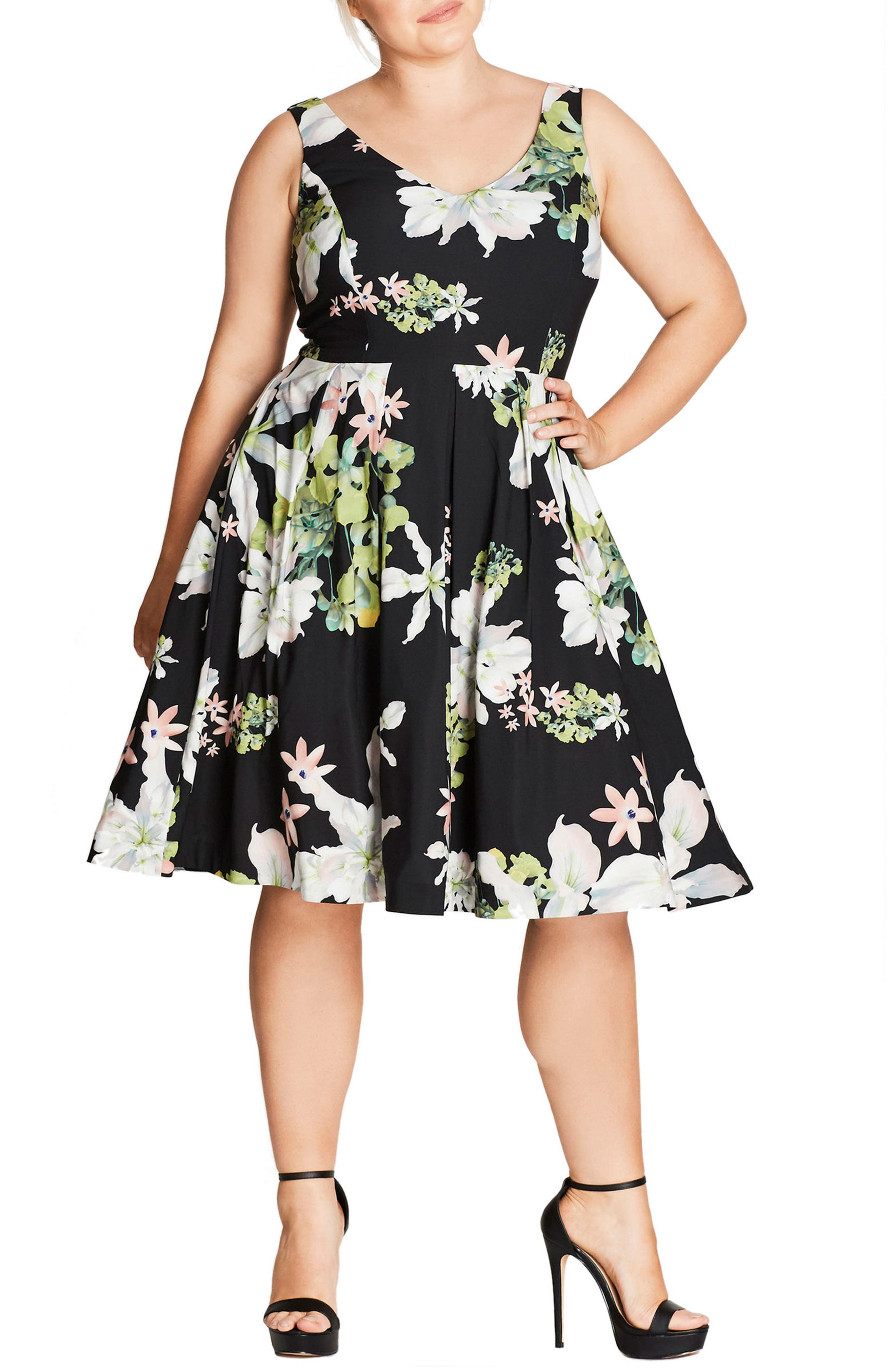 Main Image - City Chic Spring Sweetie Fit & Flare Dress (Plus Size)