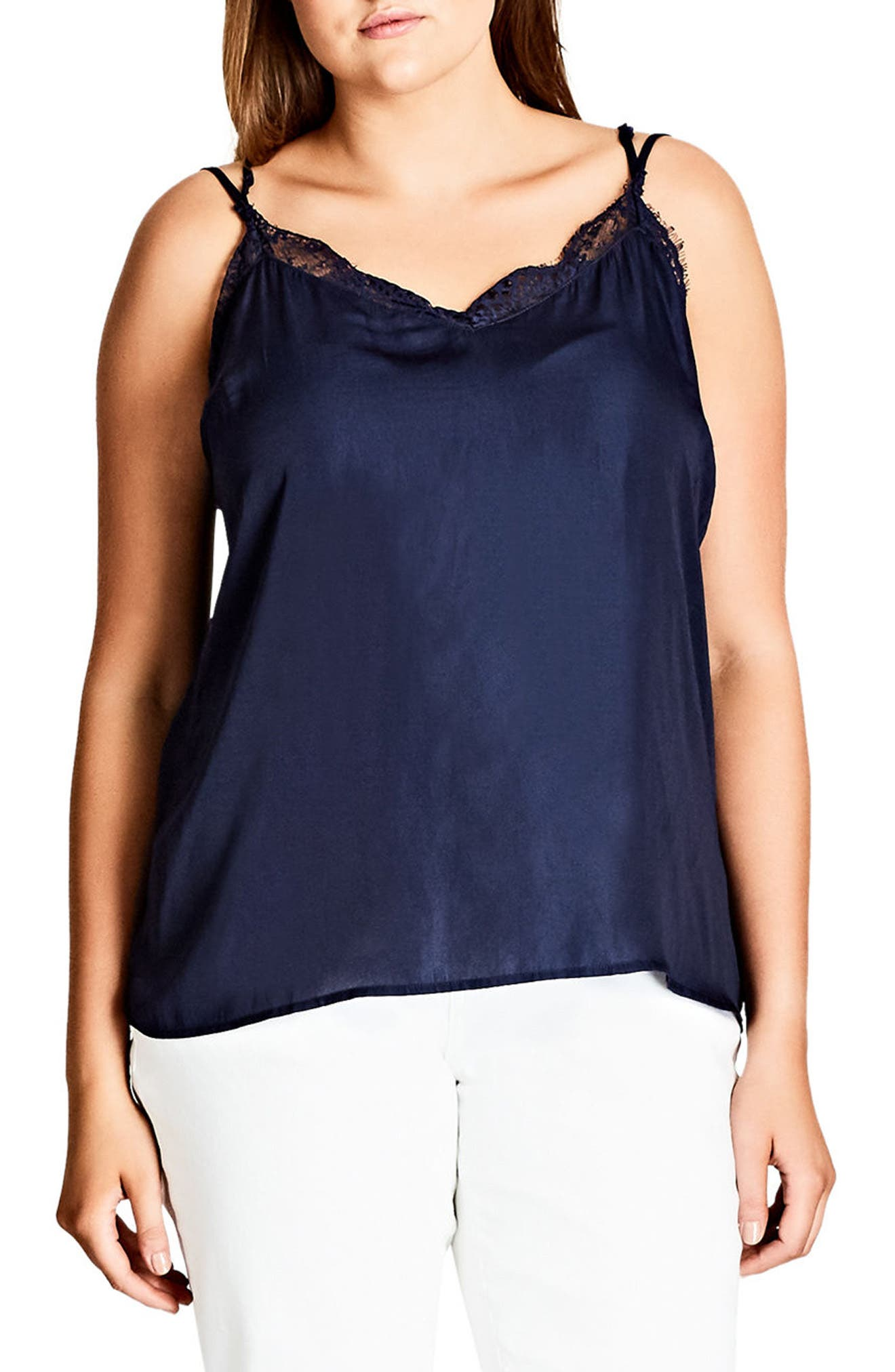 Lace Trim Camisole,                             Main thumbnail 1, color,                             Navy