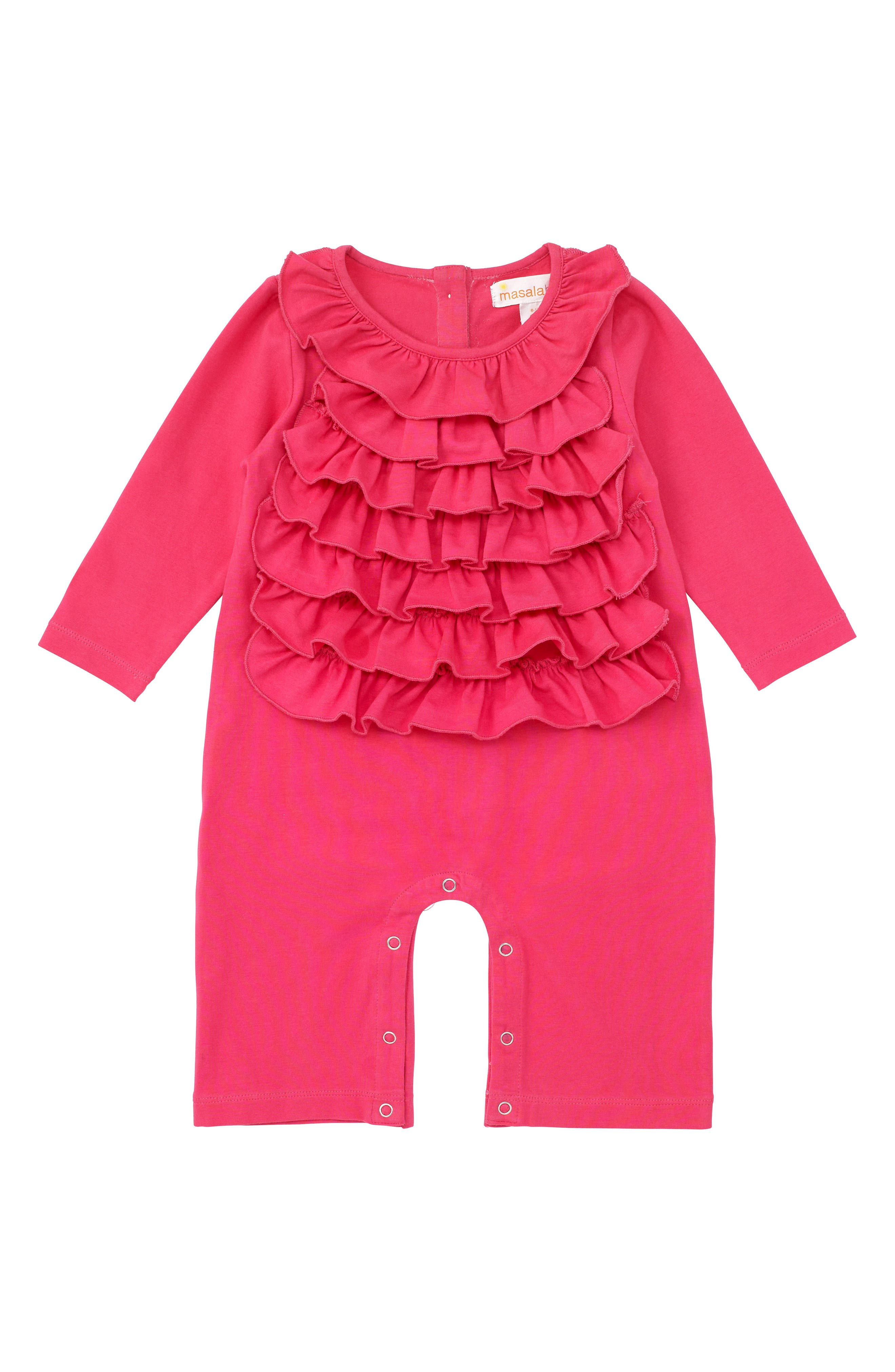 Alternate Image 1 Selected - Masala Baby Flounce Romper (Baby Girls)