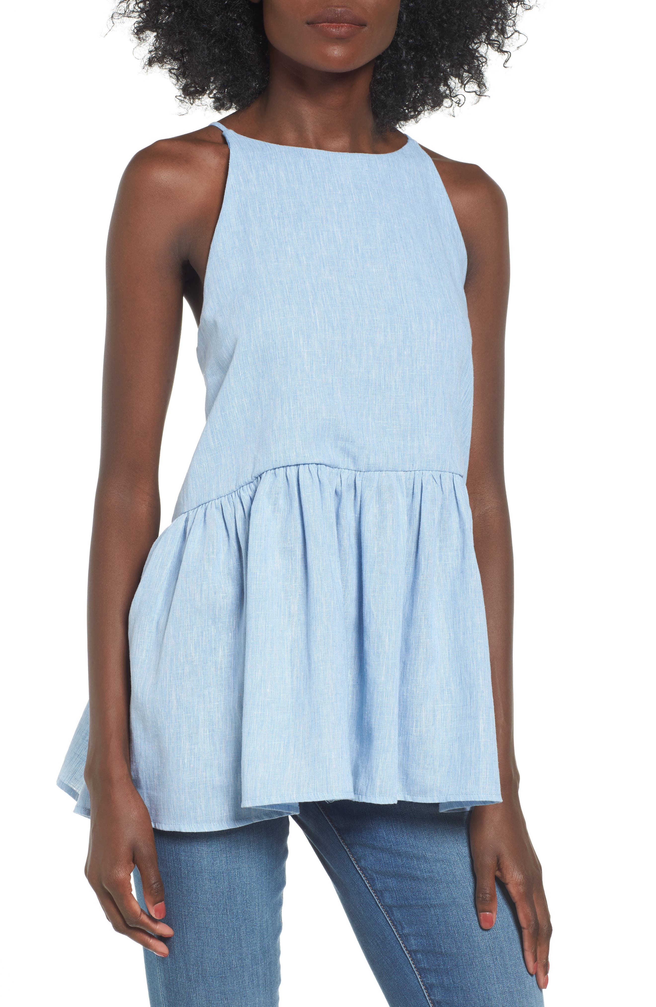 Peplum Top,                         Main,                         color, Blue Cashmere