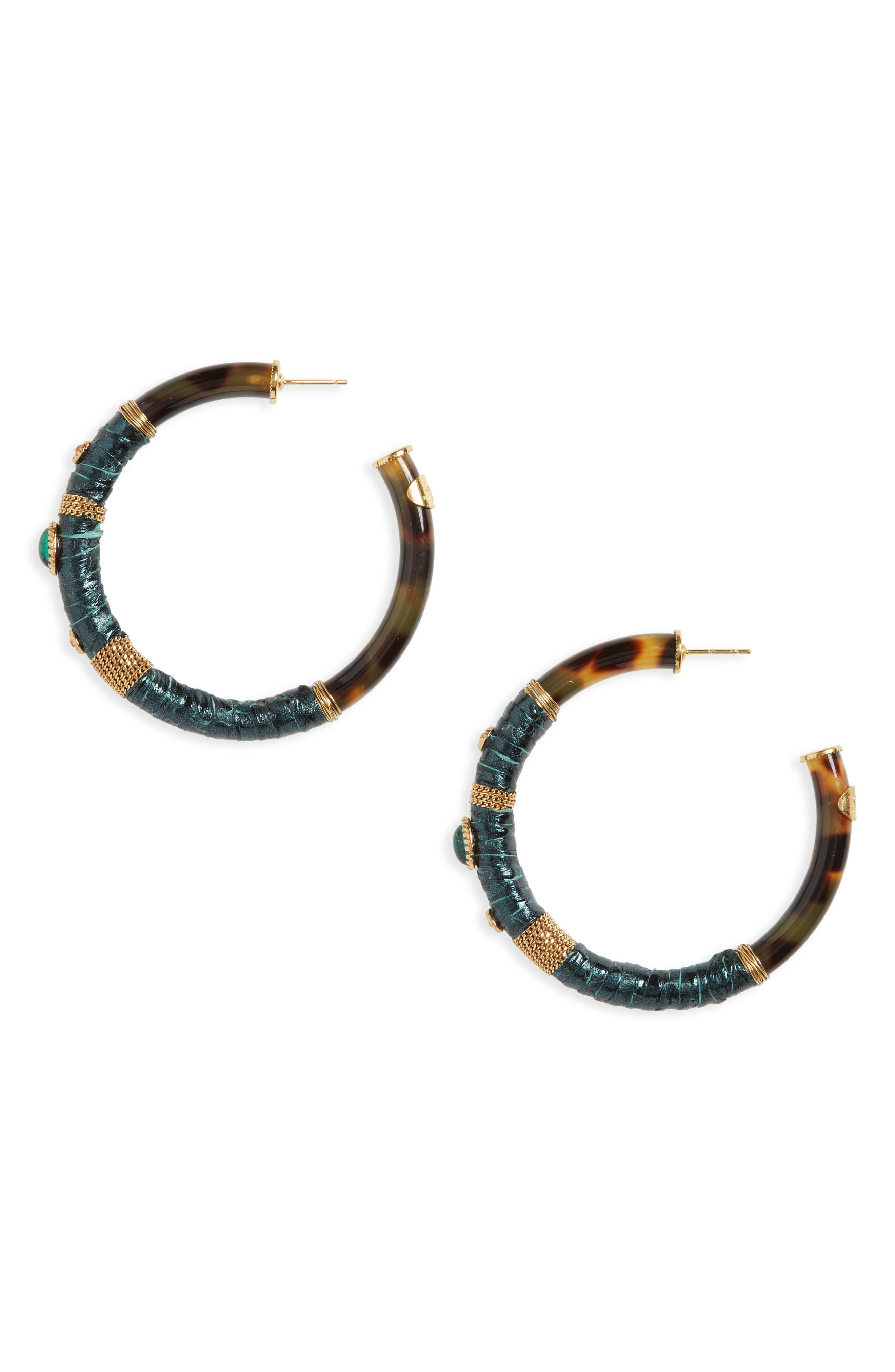 Gas Bijoux Porto Genuine Snakeskin Hoop Earrings