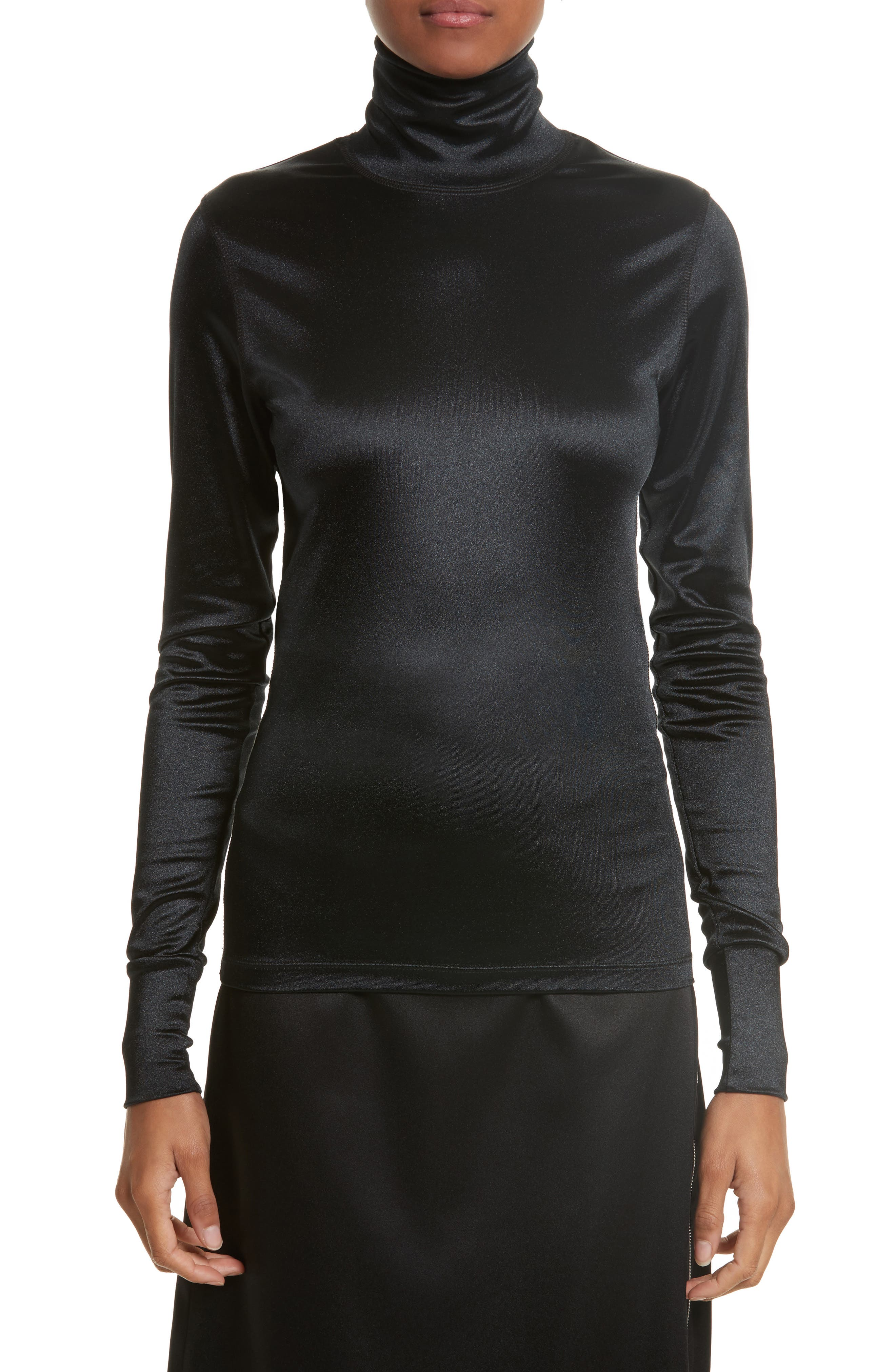 Sleek Stretch Turtleneck,                             Main thumbnail 1, color,                             Black