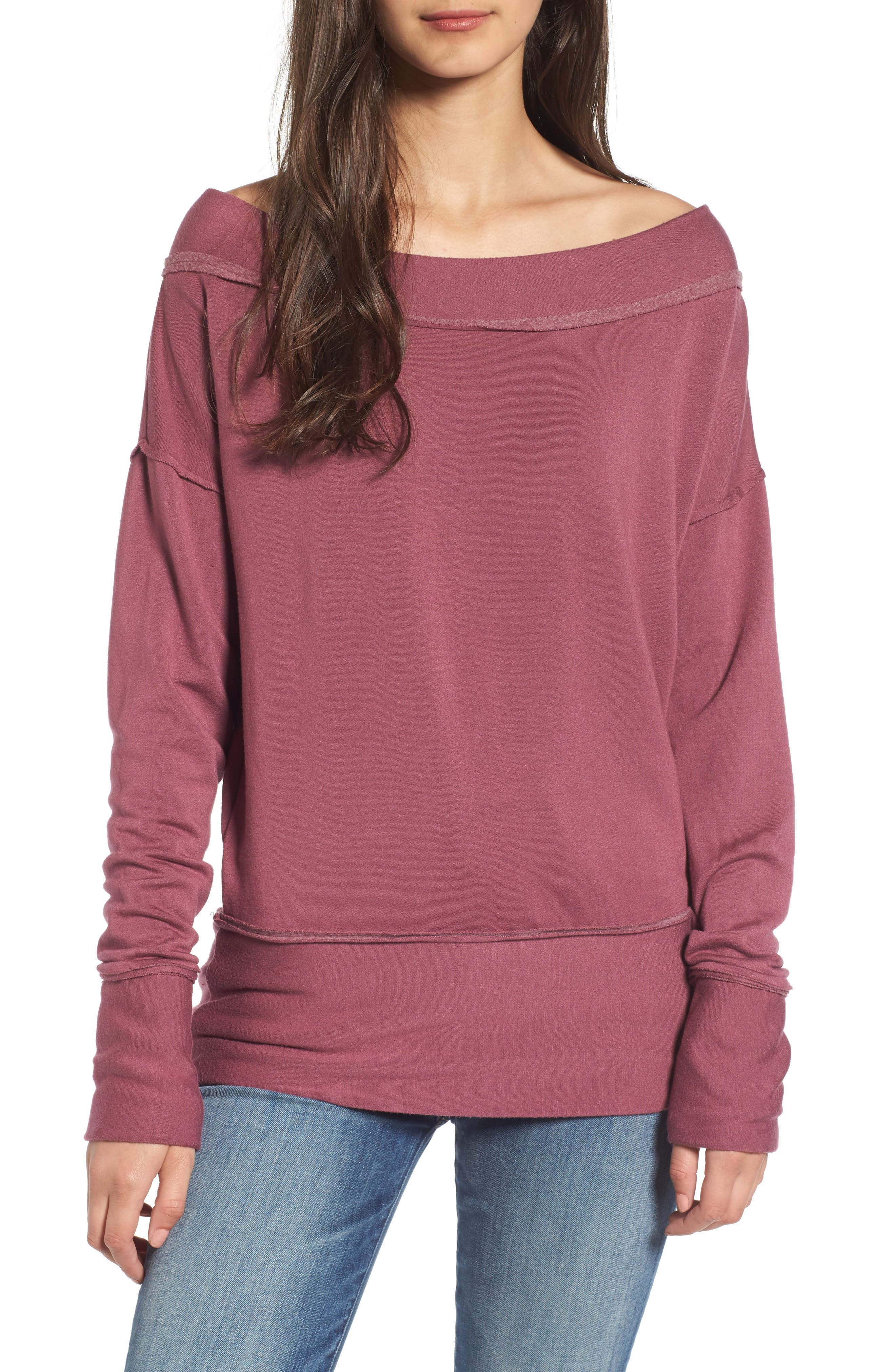 Off the Shoulder Pullover,                         Main,                         color, Berry