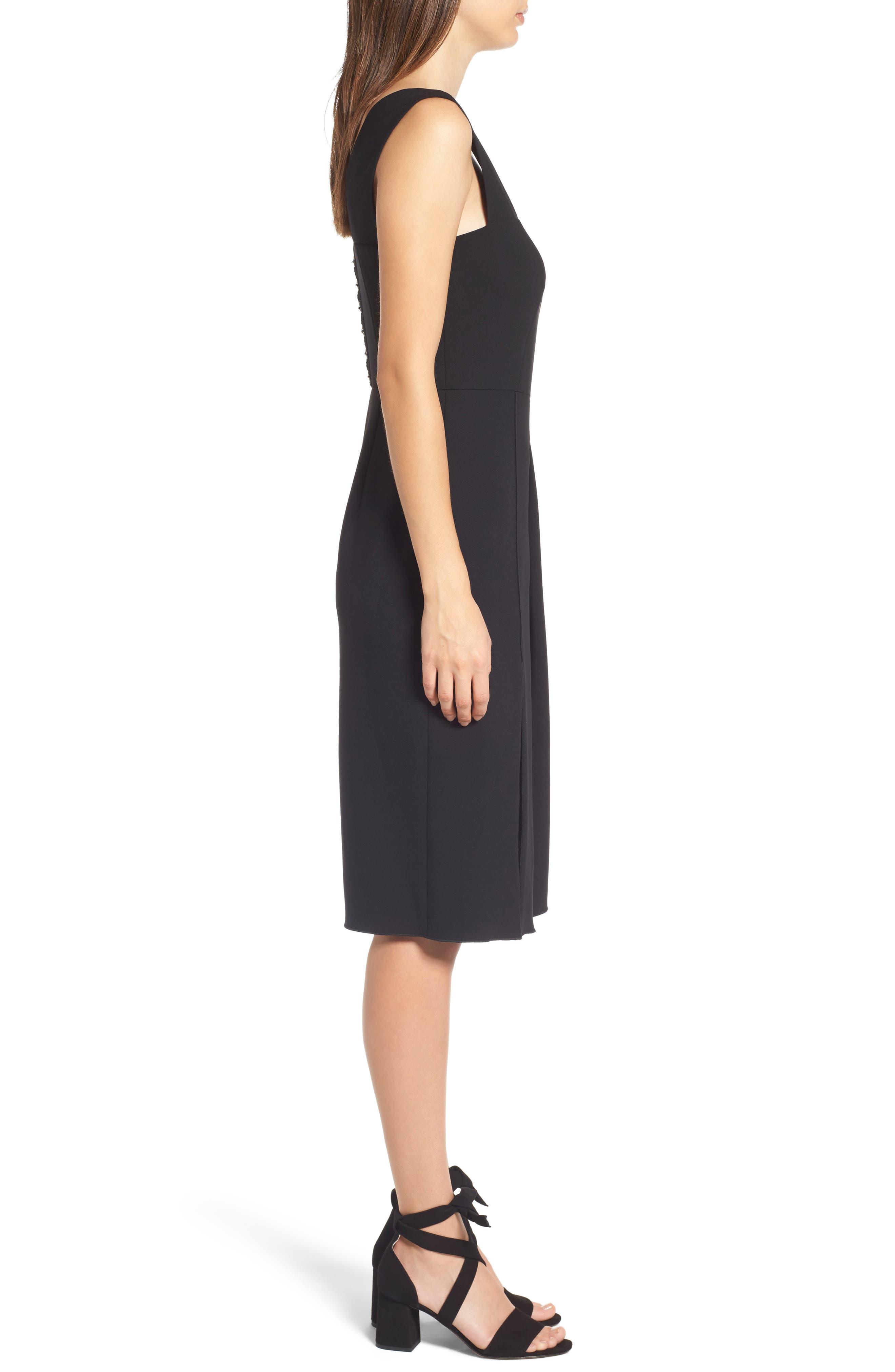 Corset Detail Stretch Wool Sheath Dress,                             Alternate thumbnail 3, color,                             Black