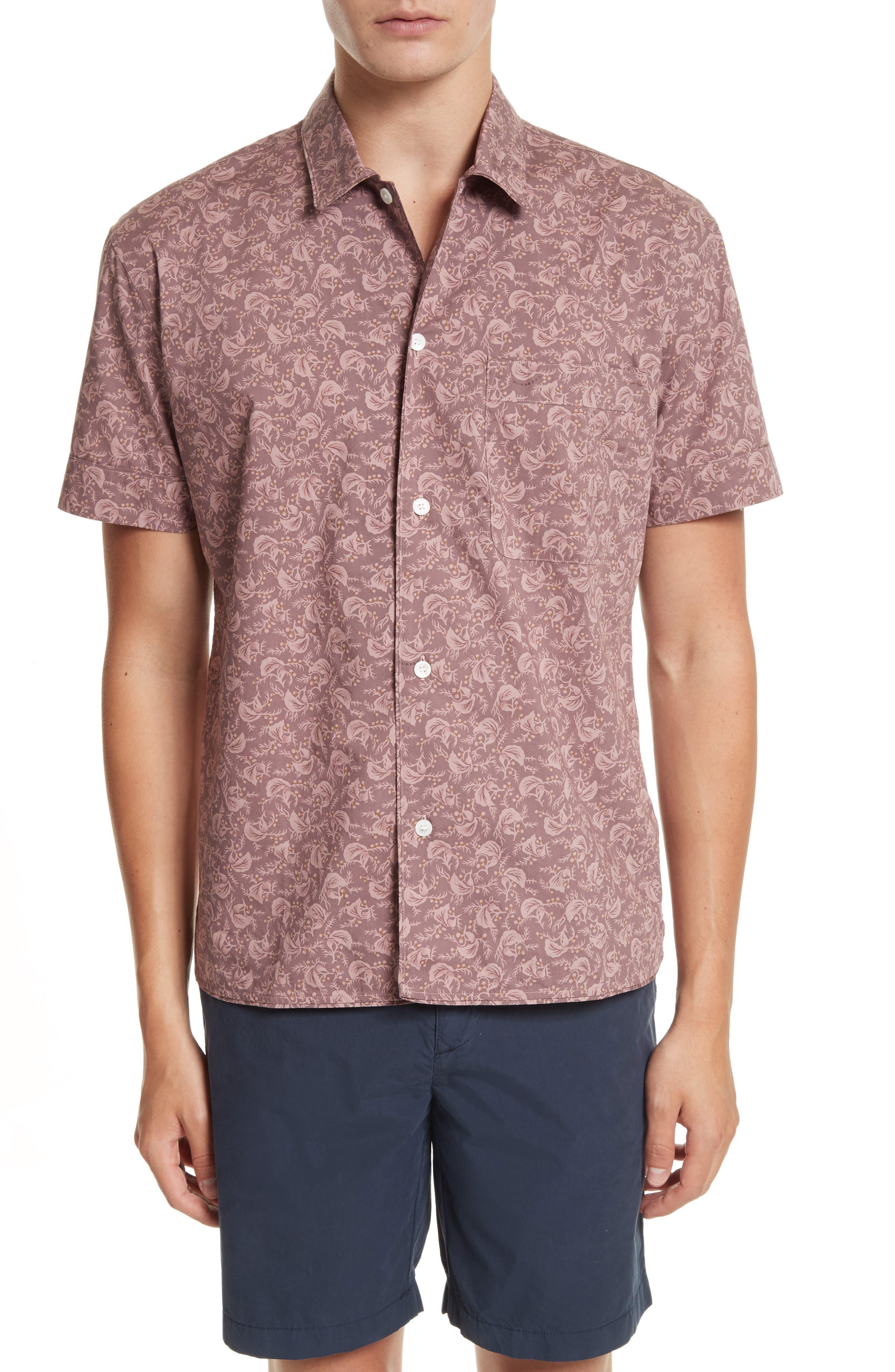 Alternate Image 1 Selected - Burberry Borrows Slim Fit Print Sport Shirt