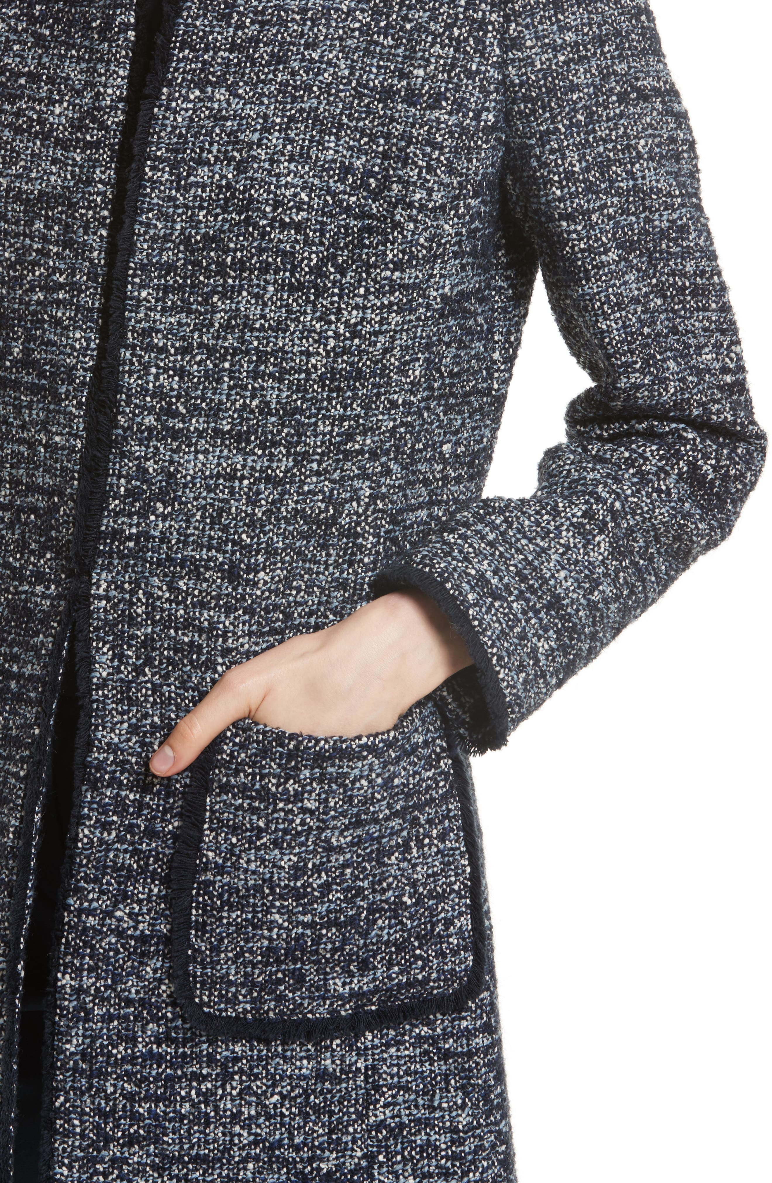 Alice Tweed Jacket,                             Alternate thumbnail 4, color,                             Navy/ Pale Blue