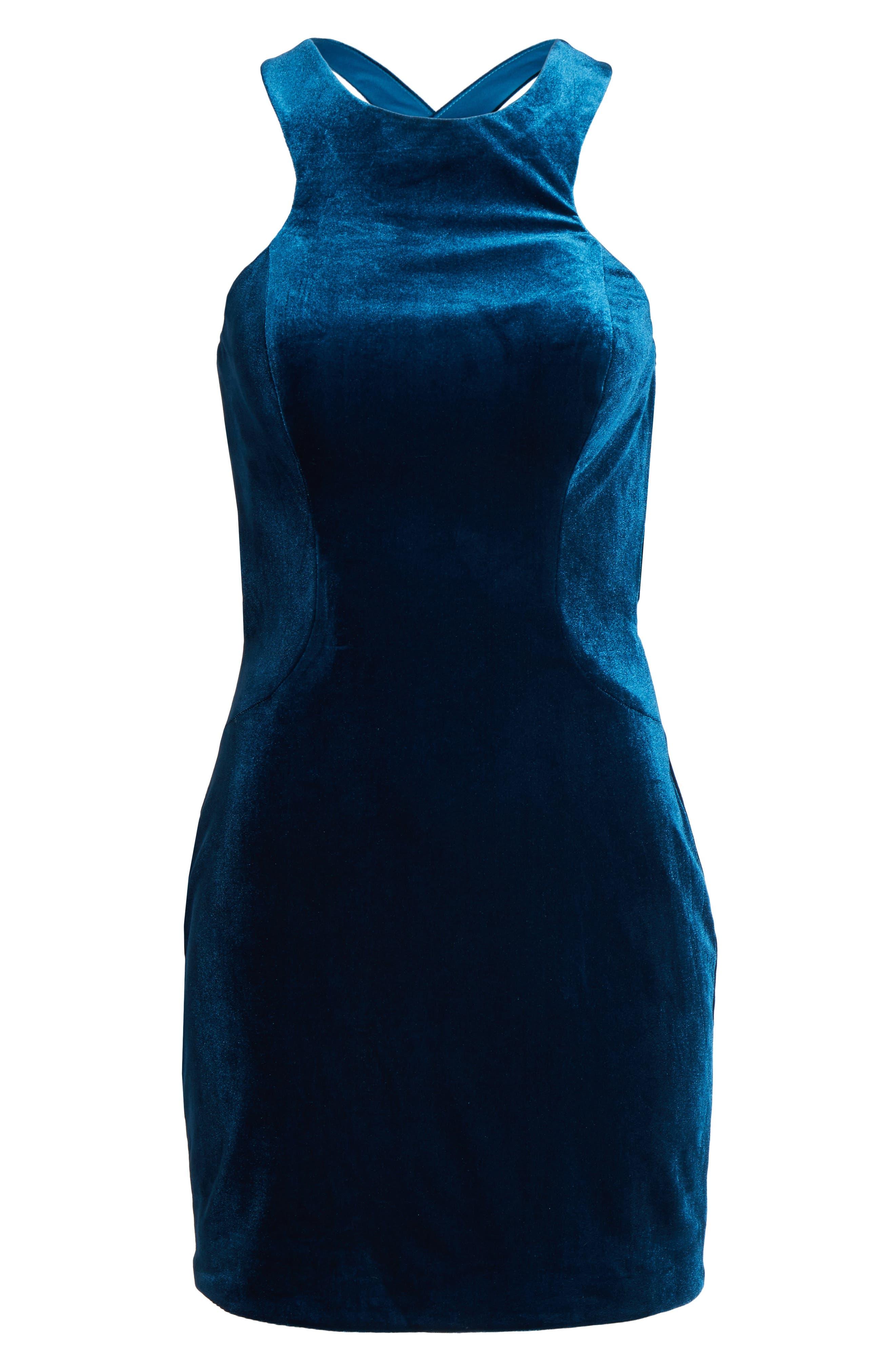High Neck Velvet Body-Con Dress,                             Alternate thumbnail 6, color,                             Dark Teal