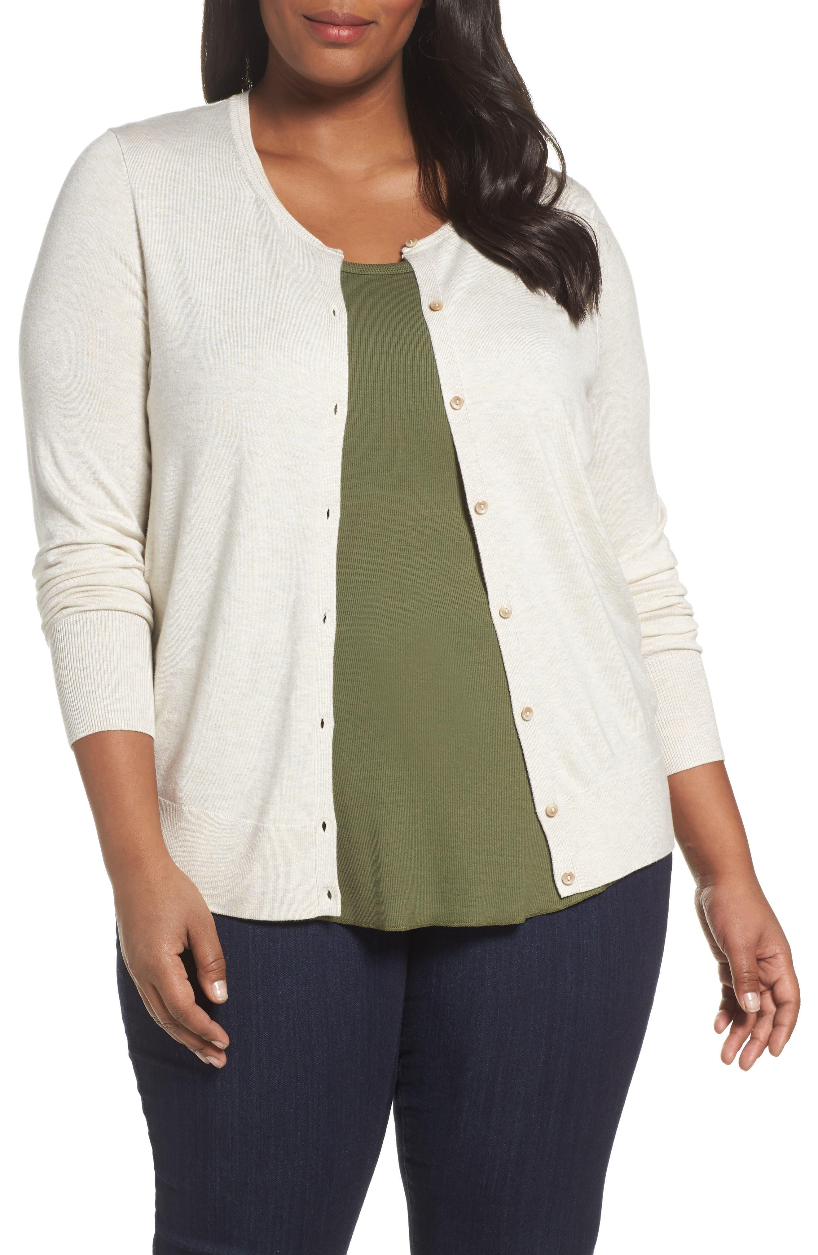 Sejour Button Front Cardigan (Plus Size)