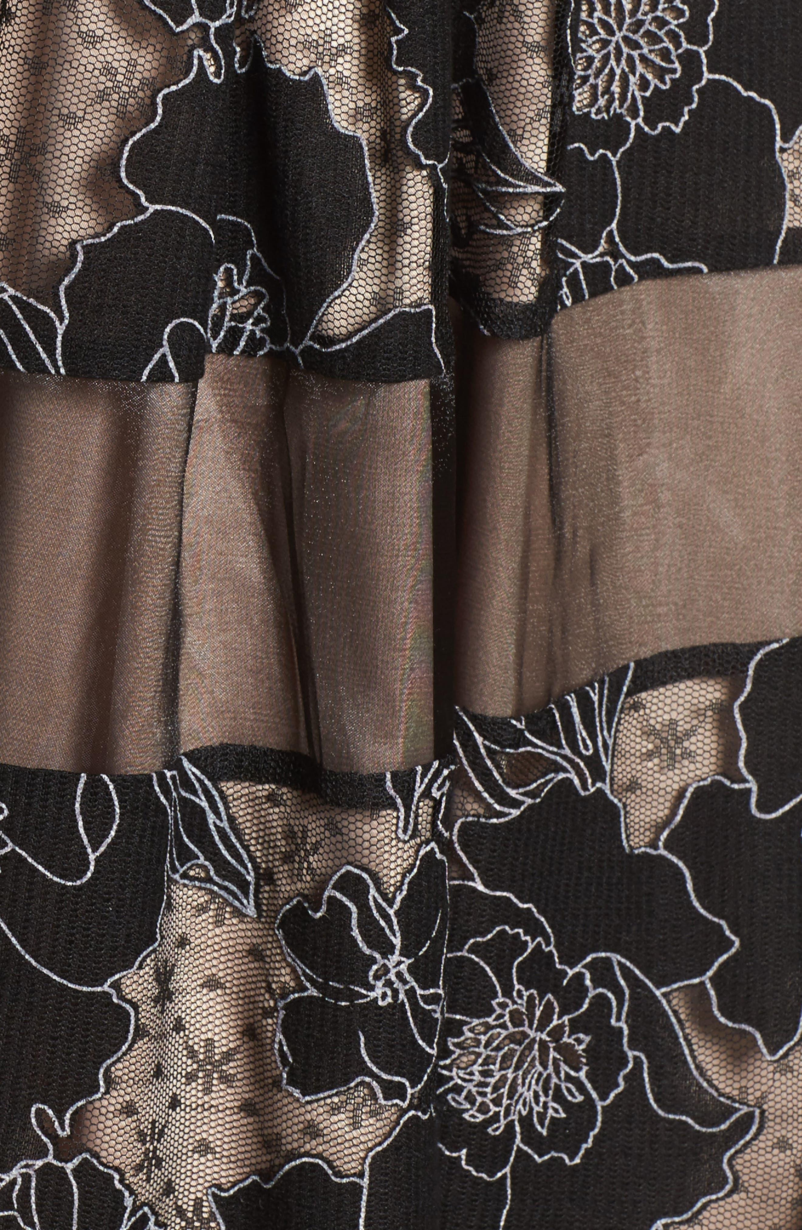 Alternate Image 5  - Eliza J Inset Waist Panel Lace Ballgown (Regular & Petite)