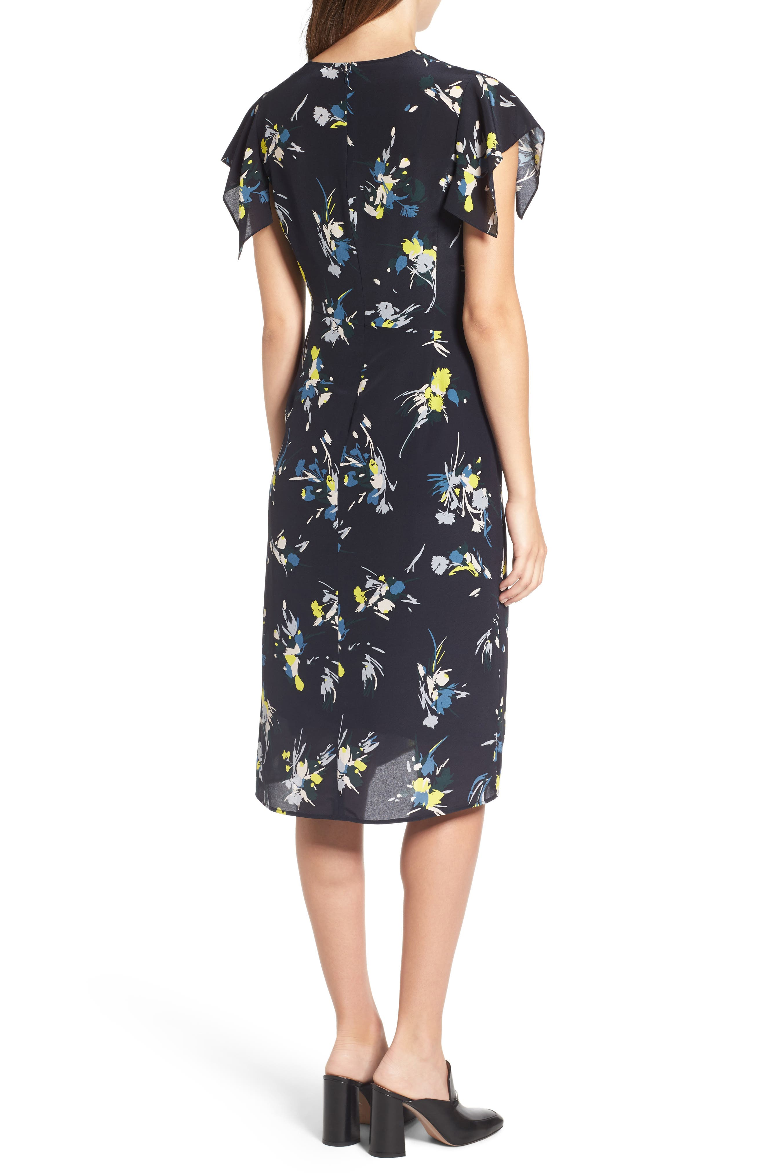 Print Silk Dress,                             Alternate thumbnail 5, color,                             Navy Night Marlow Floral