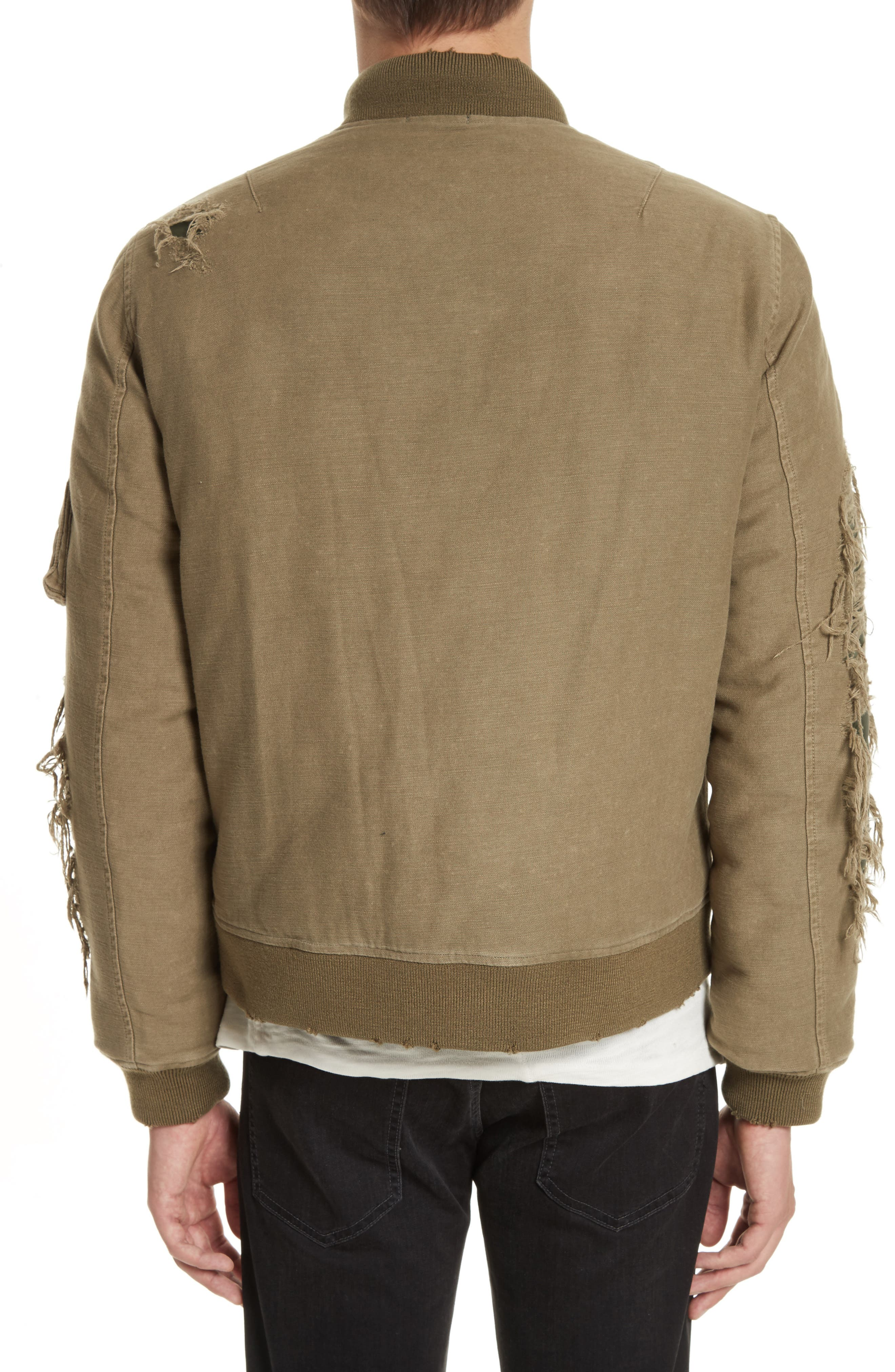 Alternate Image 2  - R13 Ripped Canvas Bomber
