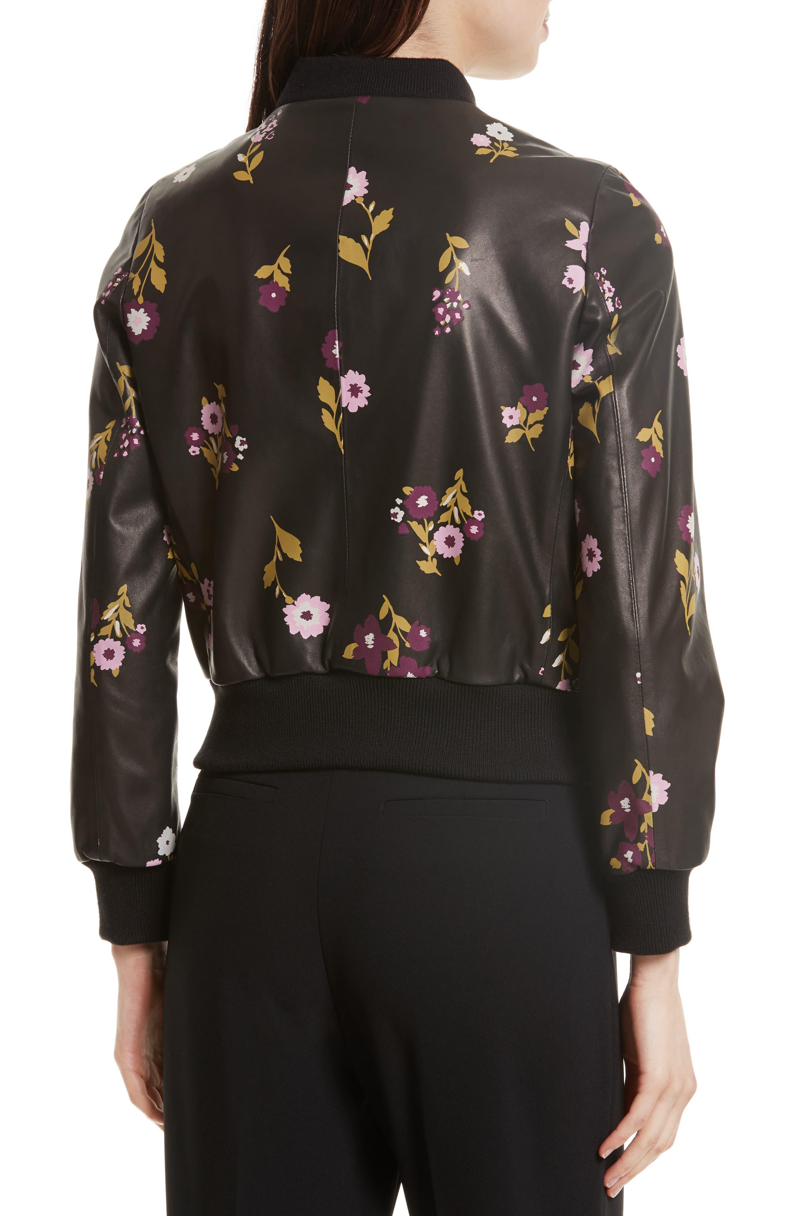 in bloom leather bomber jacket,                             Alternate thumbnail 2, color,                             Black