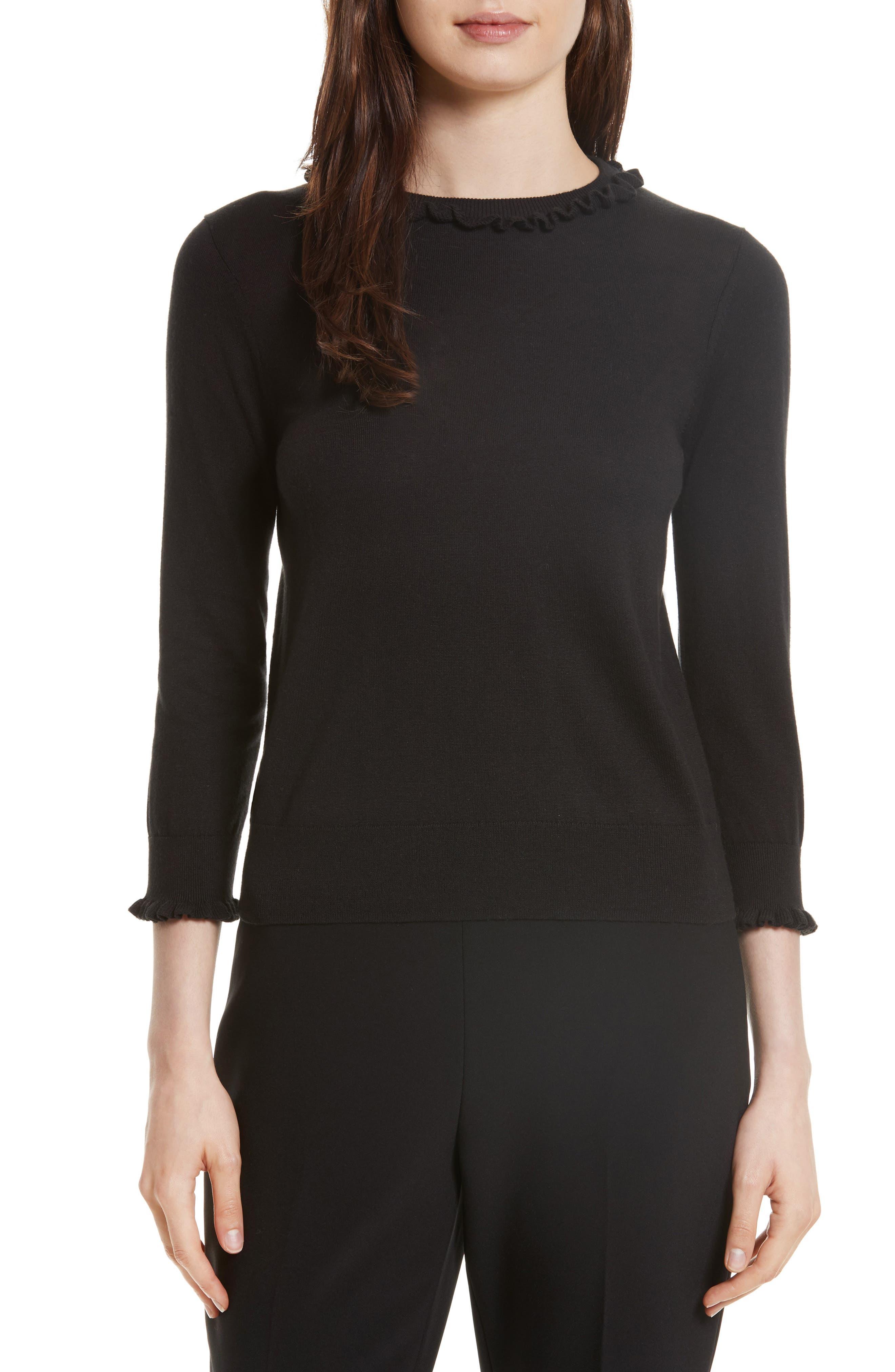 ruffle silk blend sweater,                         Main,                         color, Black