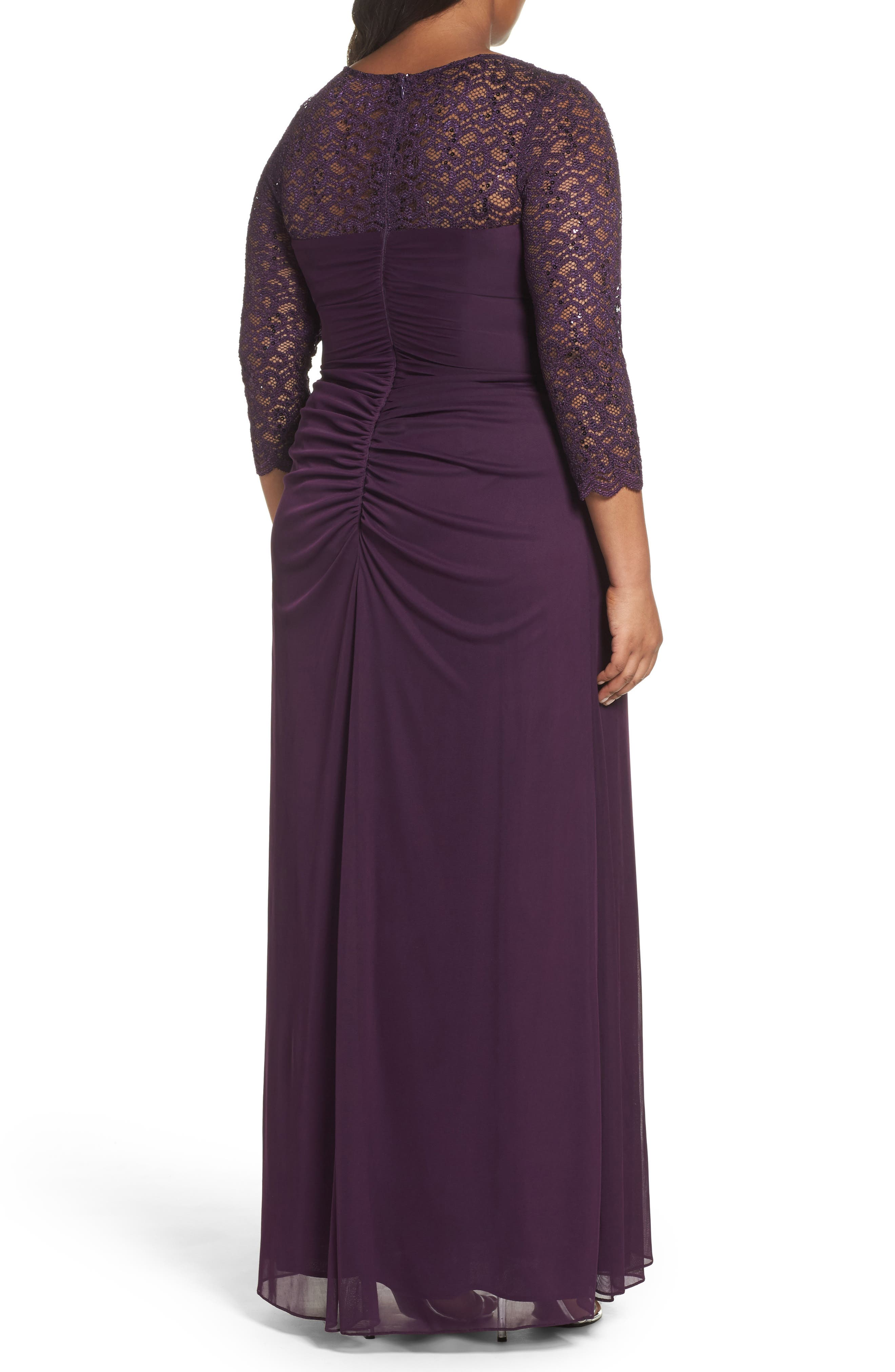 Lace & Matte Jersey Gown,                             Alternate thumbnail 2, color,                             Plum