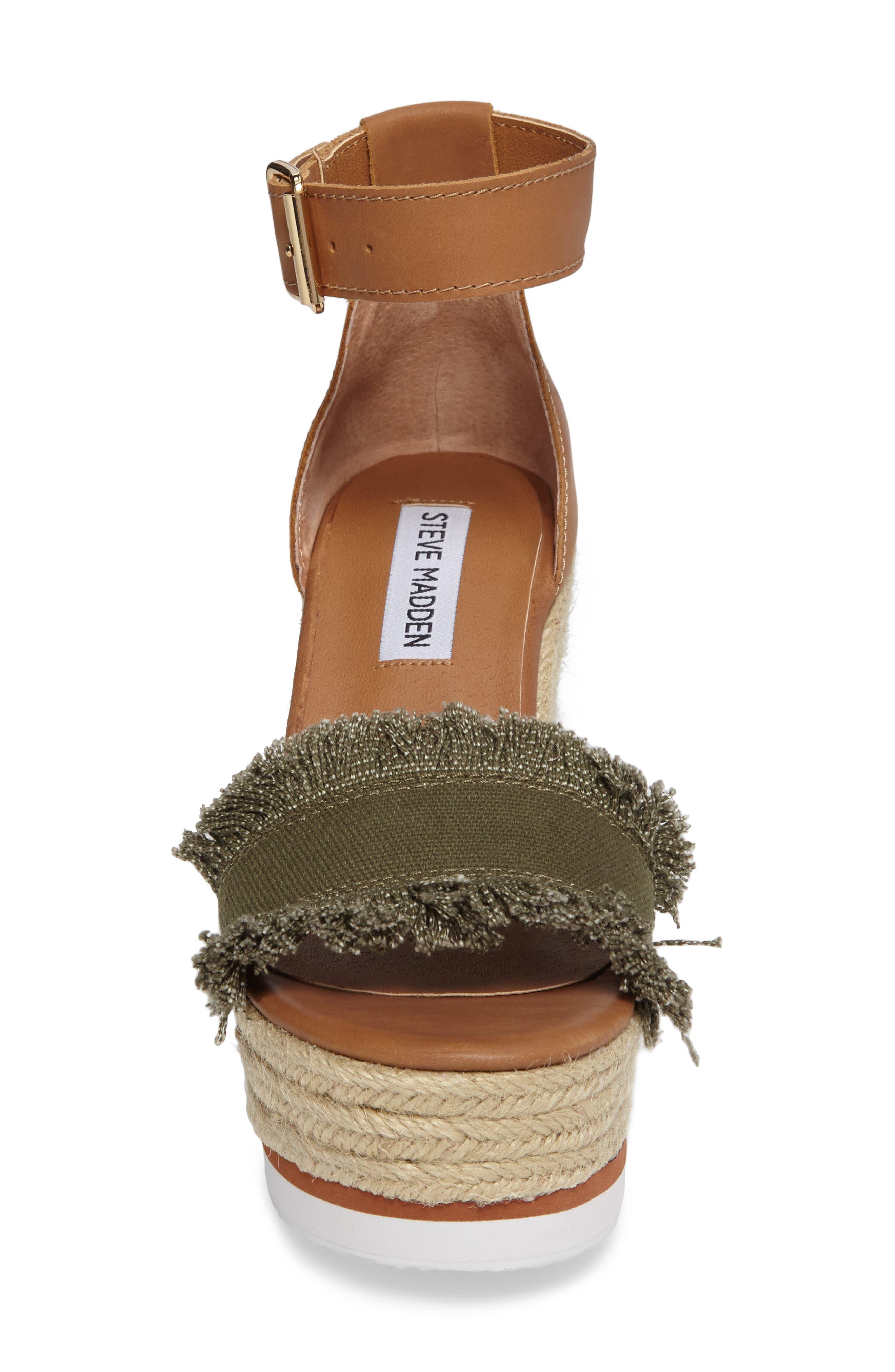 Valley Fringed Platform Wedge Sandal,                             Alternate thumbnail 4, color,                             Olive Fab