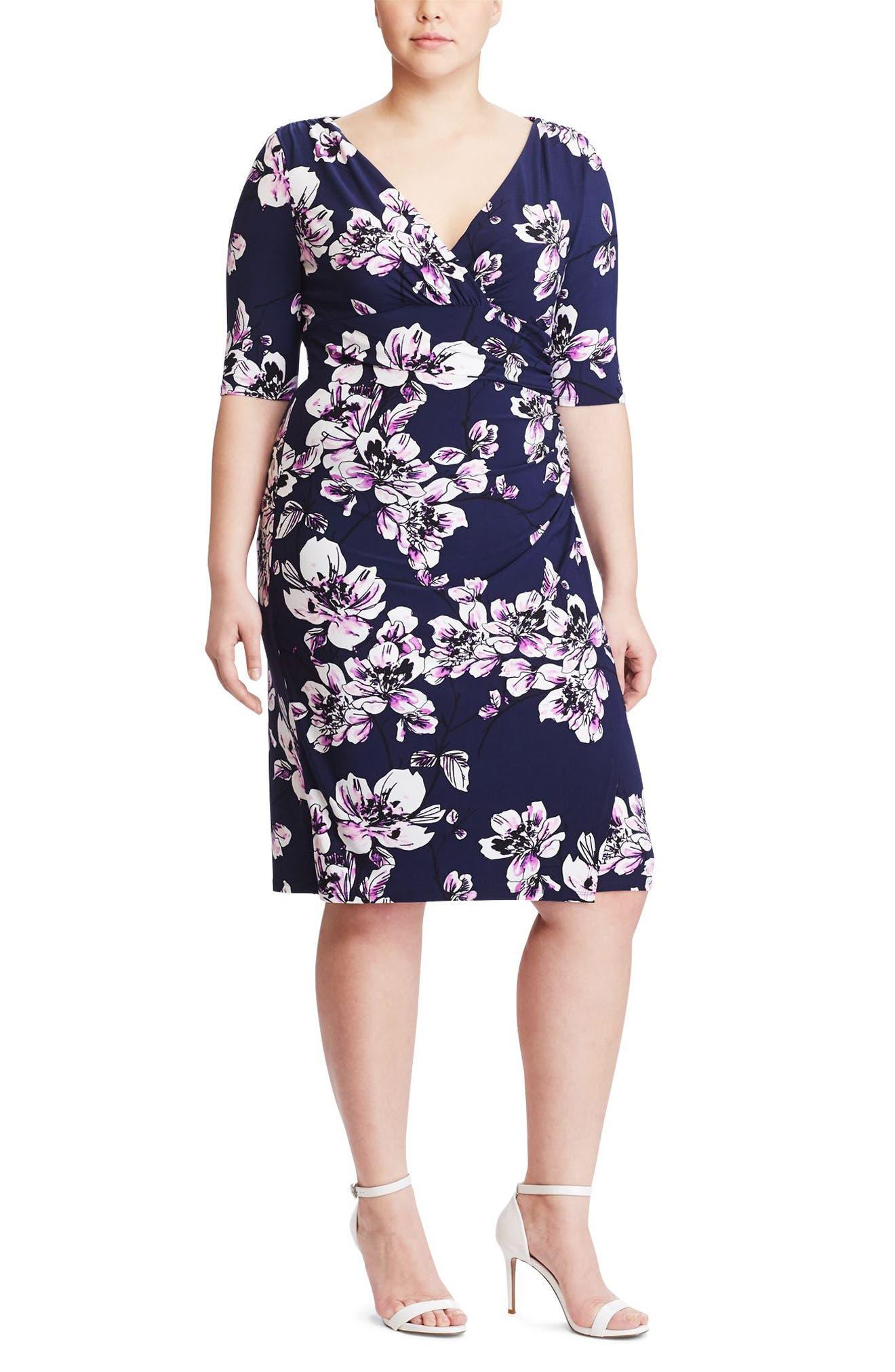 Floral Print Faux Wrap Dress,                         Main,                         color, Deep Sapphire/ Pink/ Multi