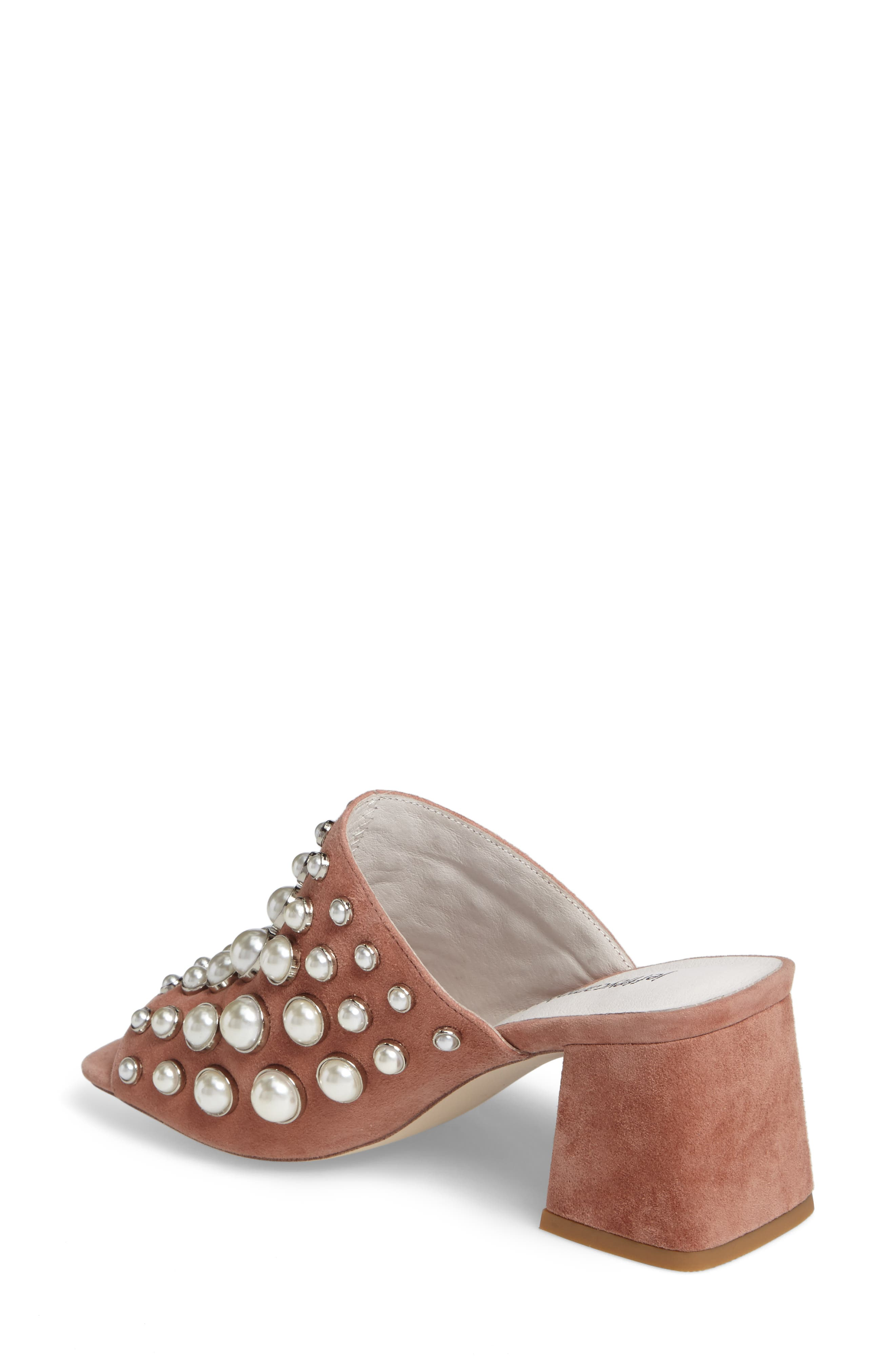 Perpetua Dome Stud Open-Toe Mule,                             Alternate thumbnail 2, color,                             Pink Suede Combo