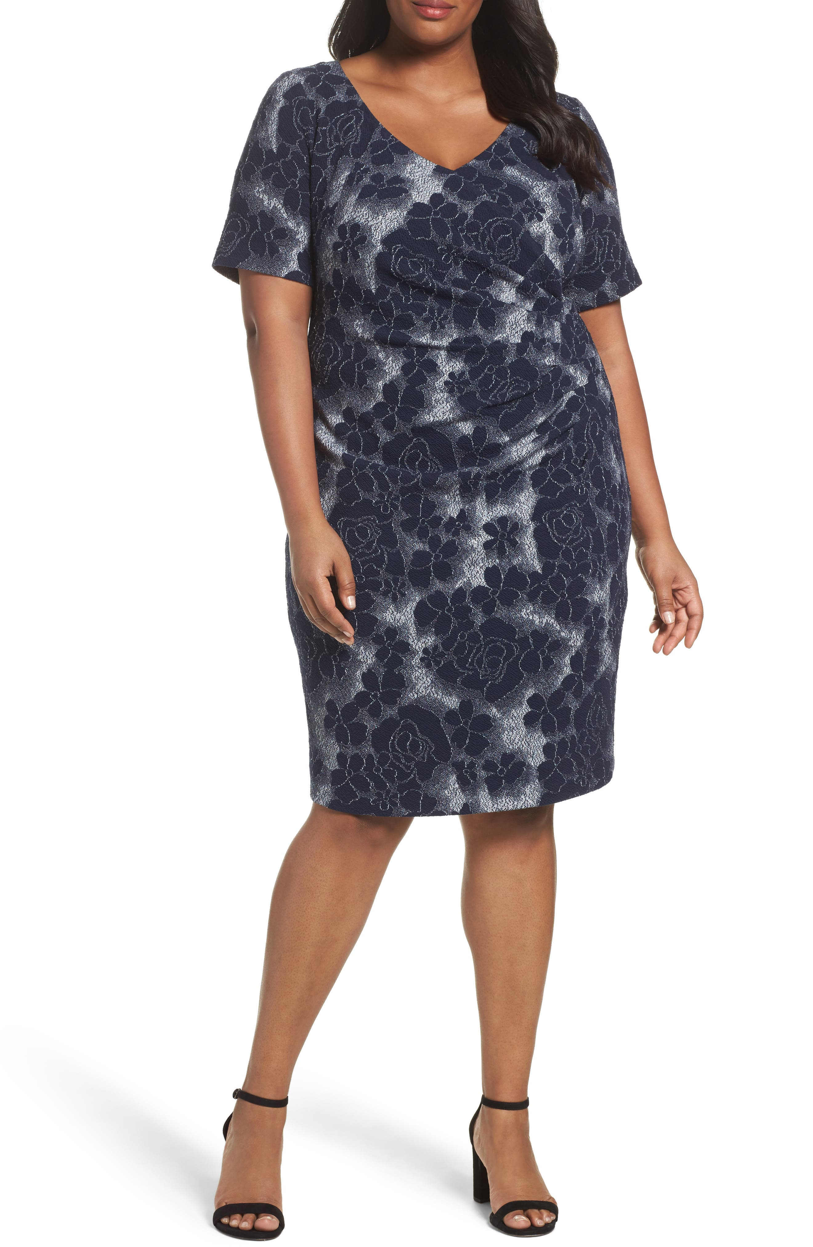 Adrianna Papell Side Ruched Sheath Dress (Plus Size)