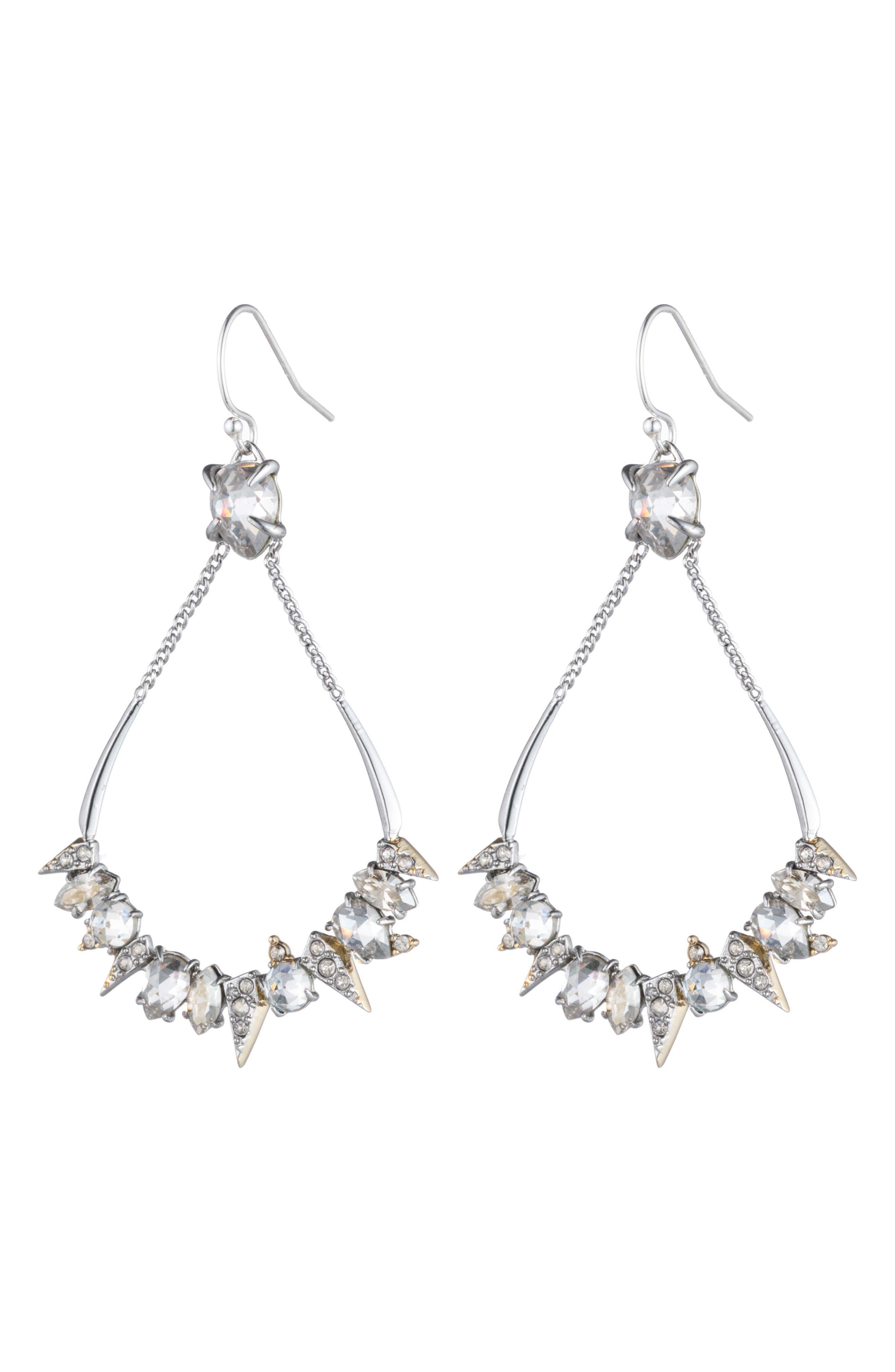 Crystal Encrusted Mosaic Drop Earrings,                             Alternate thumbnail 2, color,                             Gold