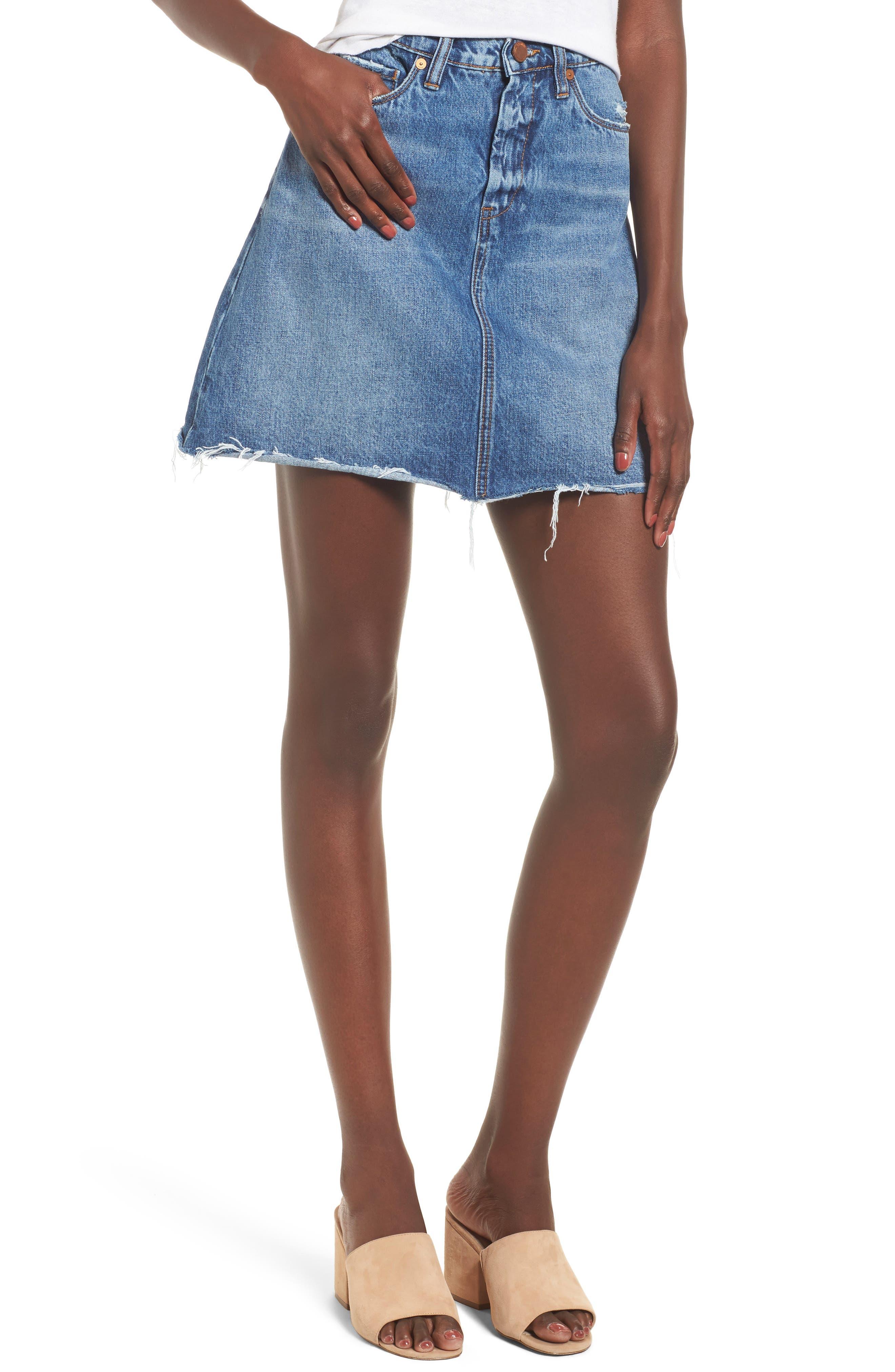 BLANKNYC Way Back When Cutoff Denim Skirt