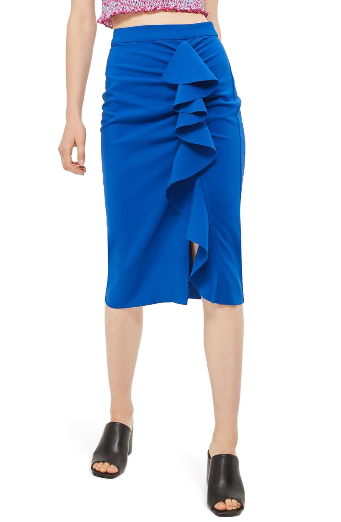 Topshop Ruffle Pencil Skirt