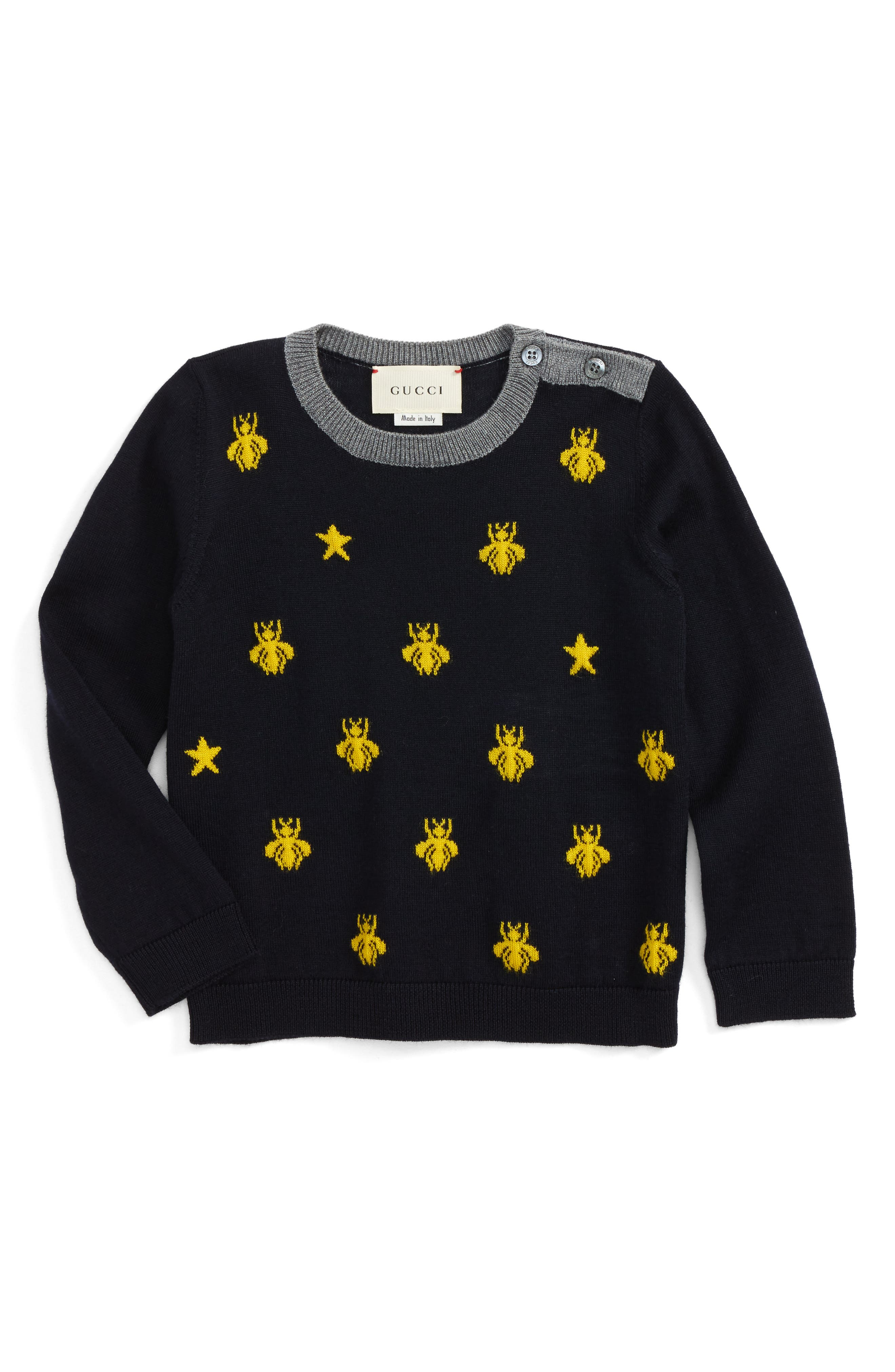 Zest Bee & Star Intarsia Wool Sweater,                         Main,                         color, Ink