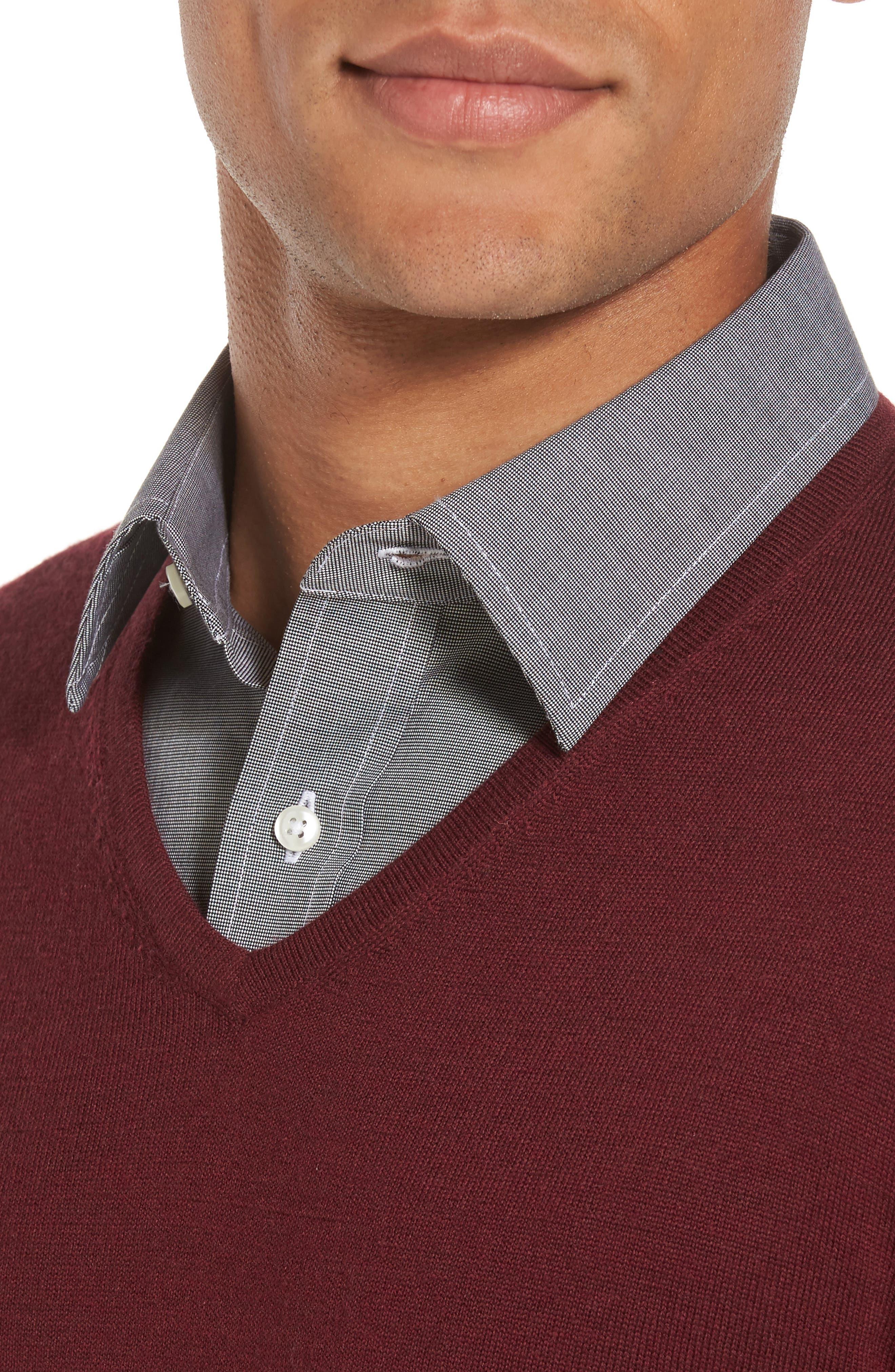 V-Neck Merino Wool Sweater,                             Alternate thumbnail 4, color,                             Burgundy Stem