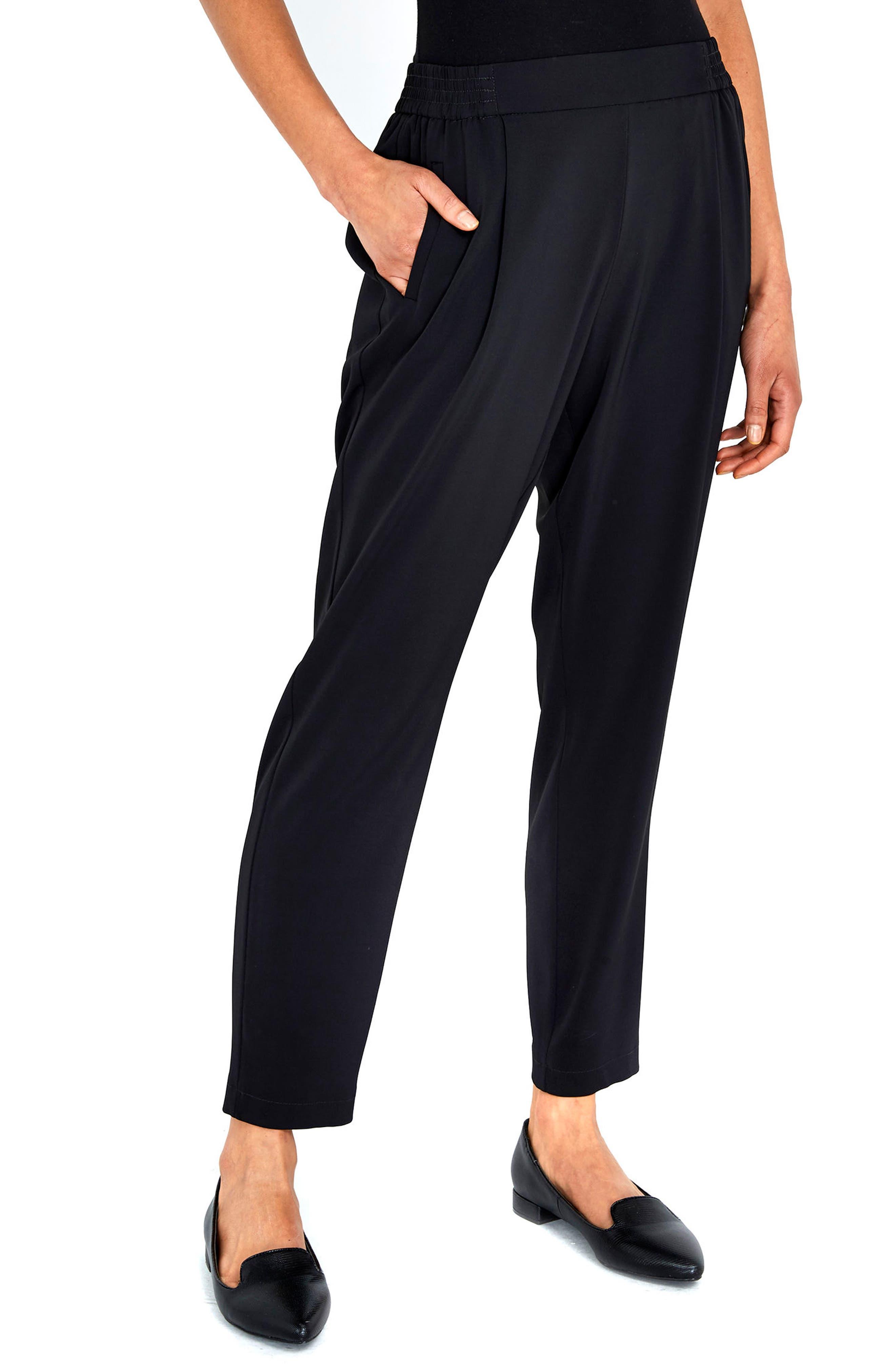 Pleat Front Pants,                         Main,                         color, Black