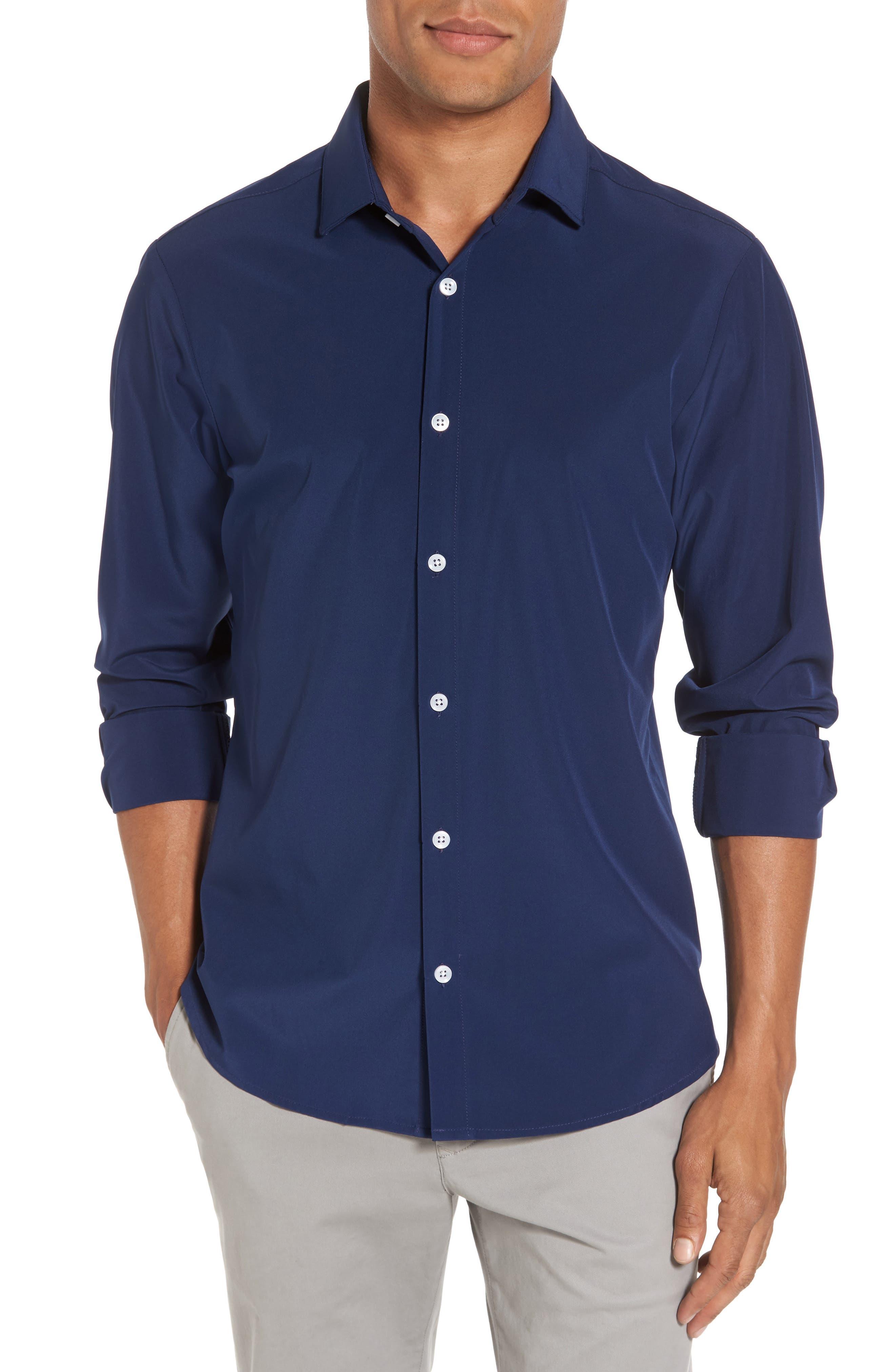 Dillon Slim Fit Performance Sport Shirt,                         Main,                         color, Navy