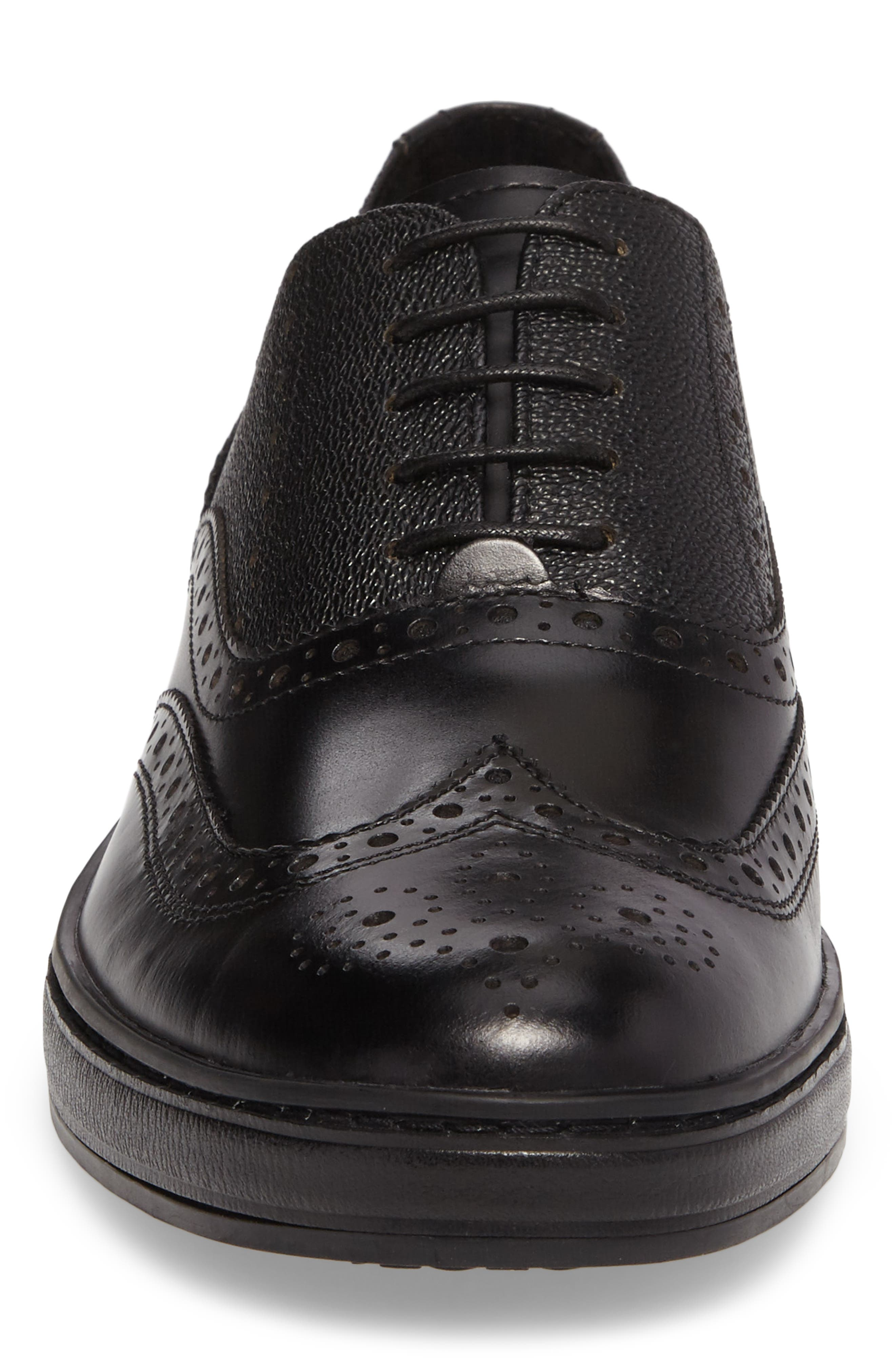 Wingtip,                             Alternate thumbnail 4, color,                             Black Leather