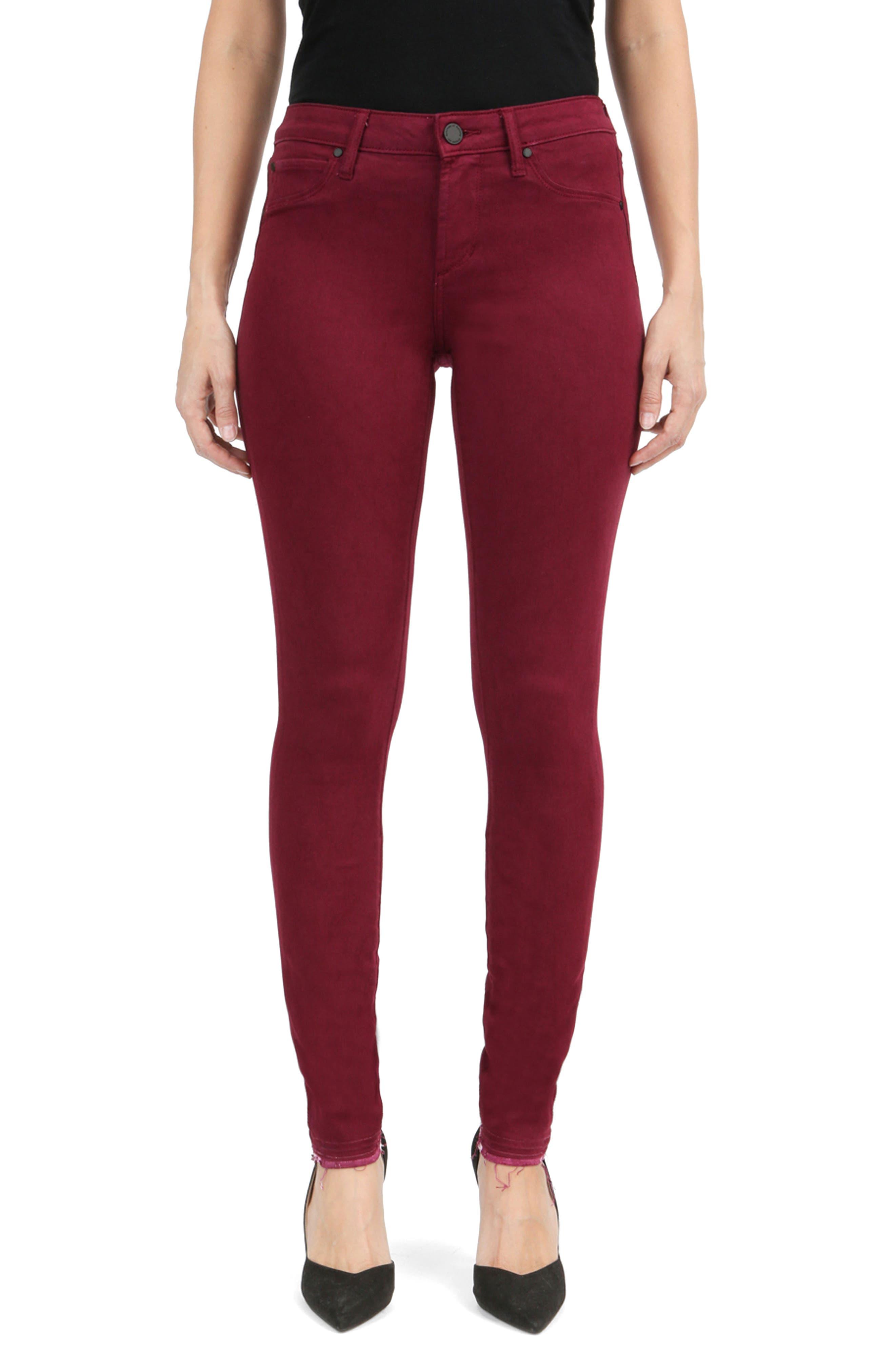 Sarah Release Hem Skinny Jeans,                         Main,                         color, Arrowhead Burg