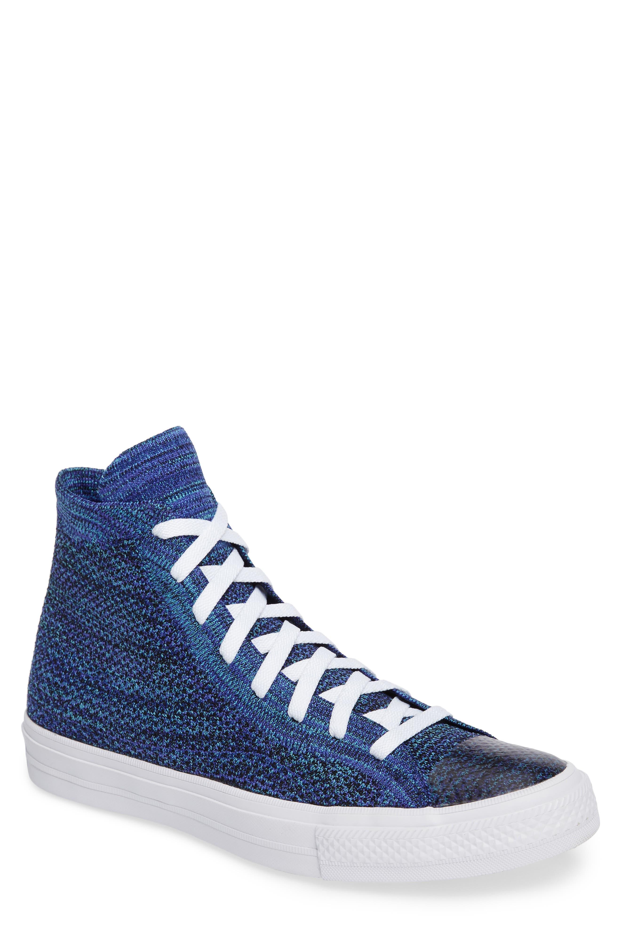 Chuck Taylor<sup>®</sup> All Star<sup>®</sup> Flyknit Hi Sneaker,                         Main,                         color, Indigo