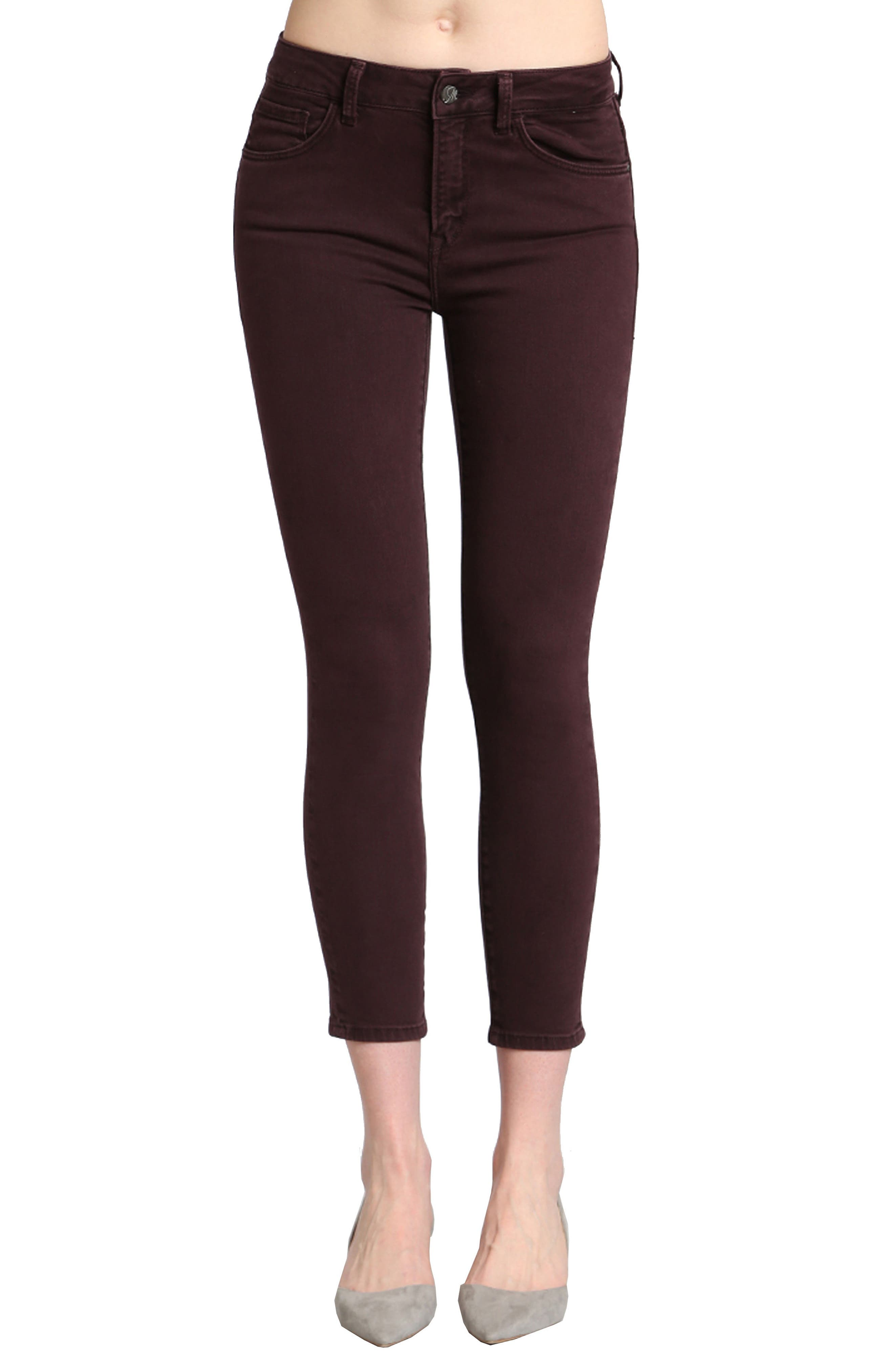 Tess Skinny Jeans,                         Main,                         color, Wine